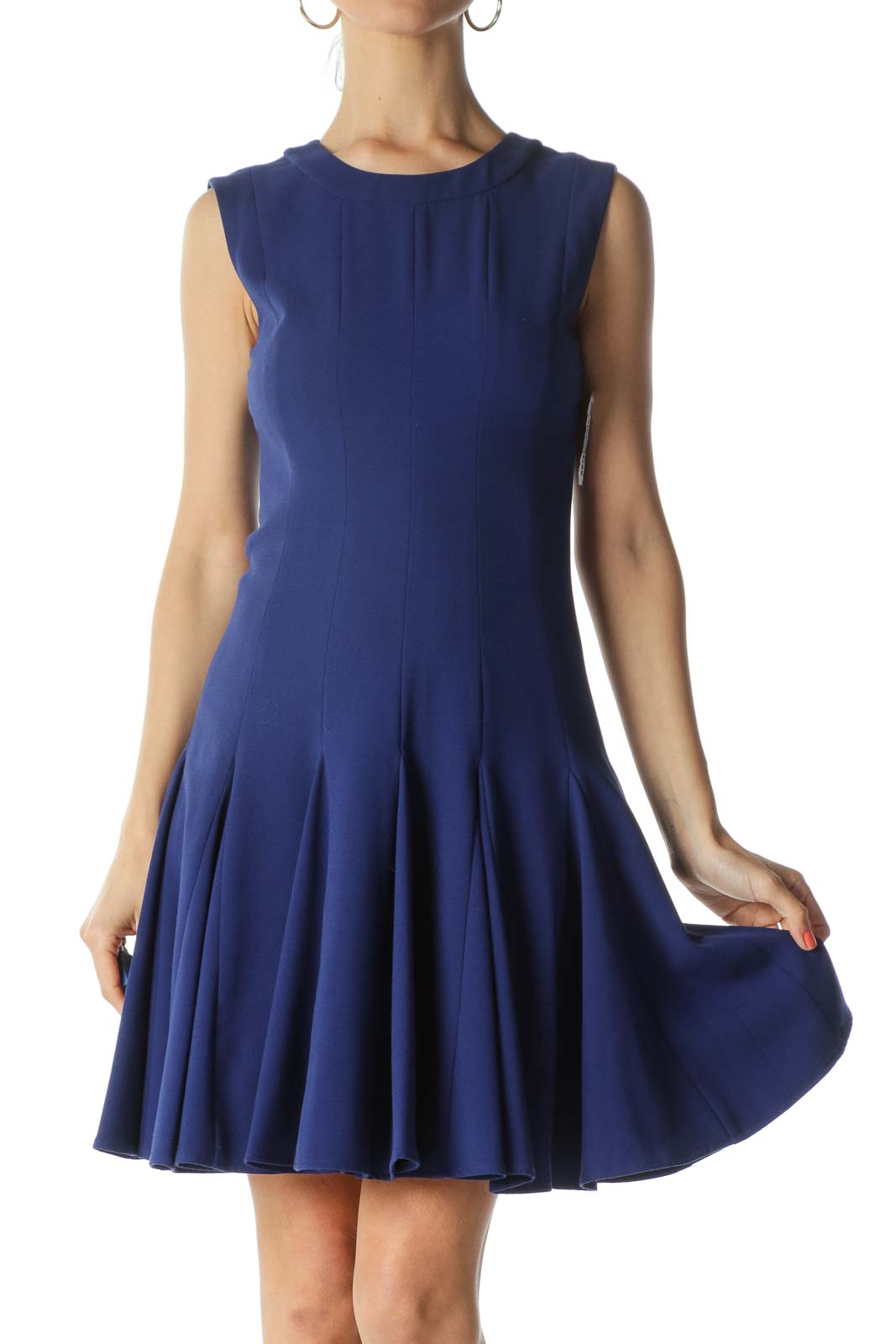Blue Round-Neck Sleeveless Pleated-Bottom Work Dress