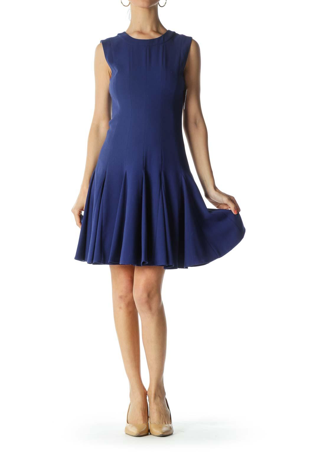 Blue Round-Neck Sleeveless Pleated-Bottom Work Dress