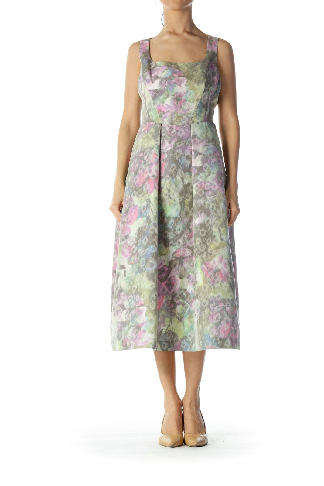 Multicolor Floral Print Evening Dress