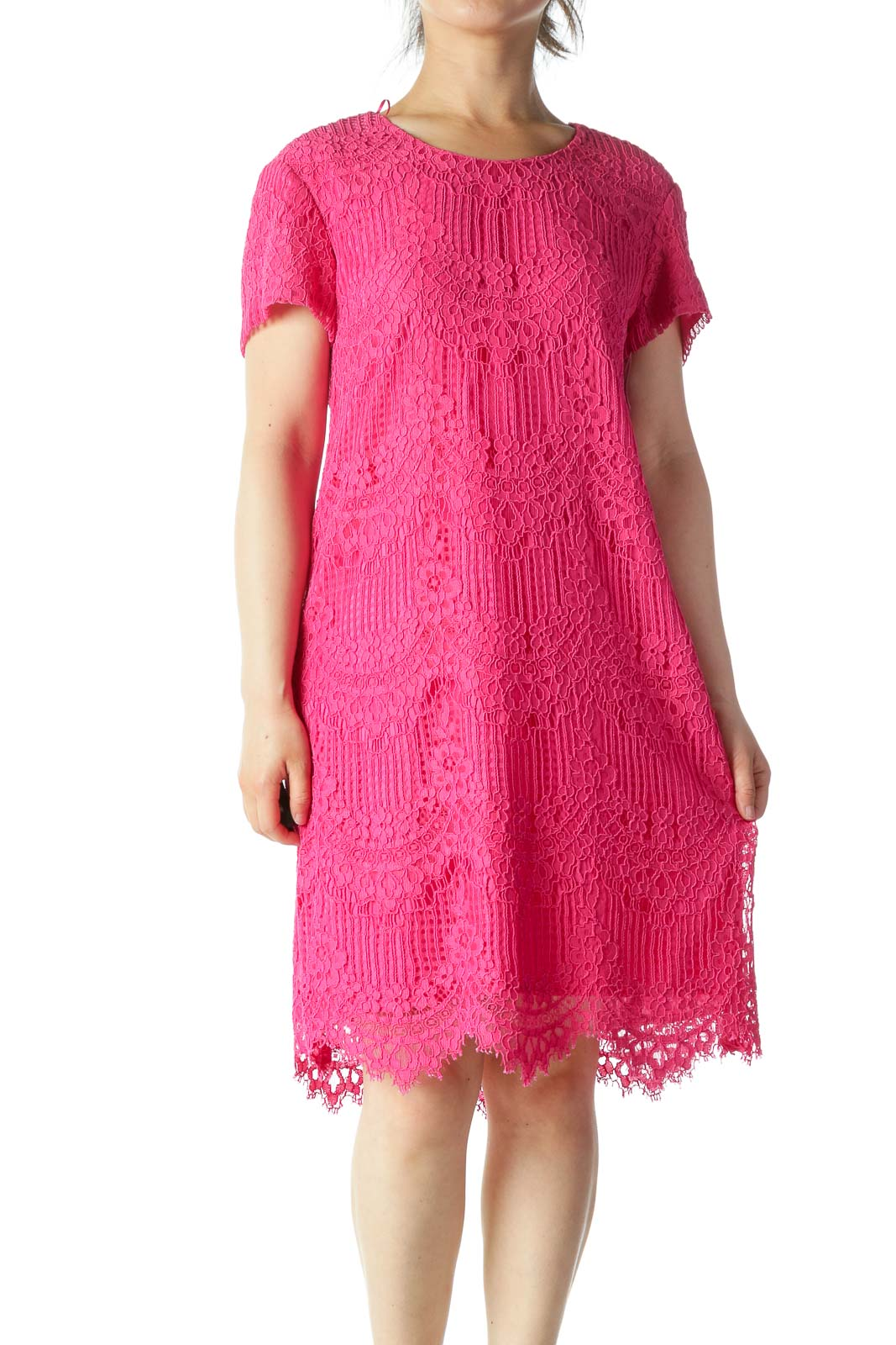 Pink Lace Detail Midi Shift Dress