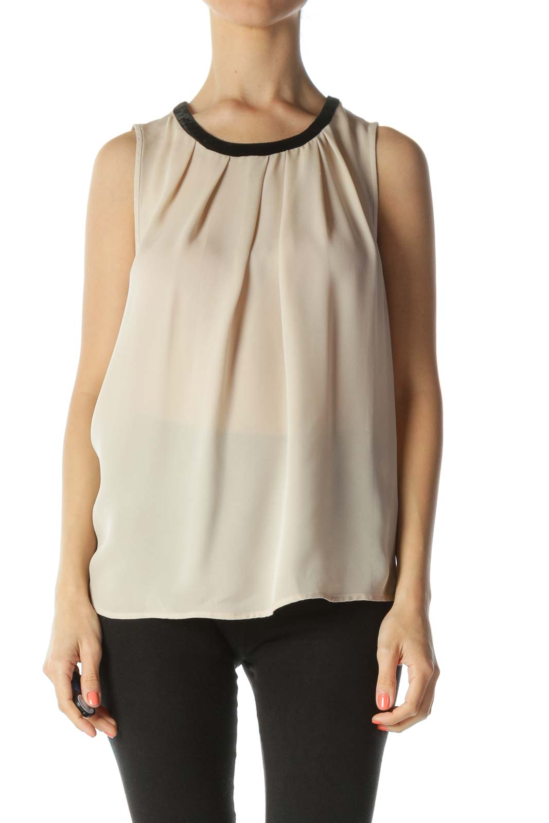 Beige Silk Sleeveless Blouse with Black Velvet Neck-TIe