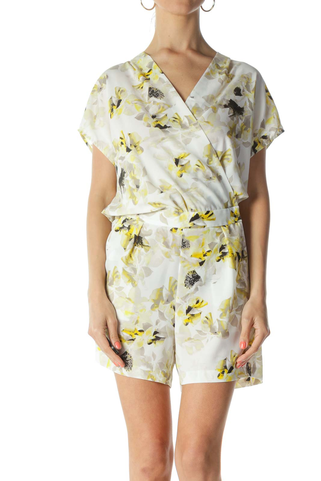 White/Yellow/Black Floral-Print Elastic-Waist Pocketed Romper