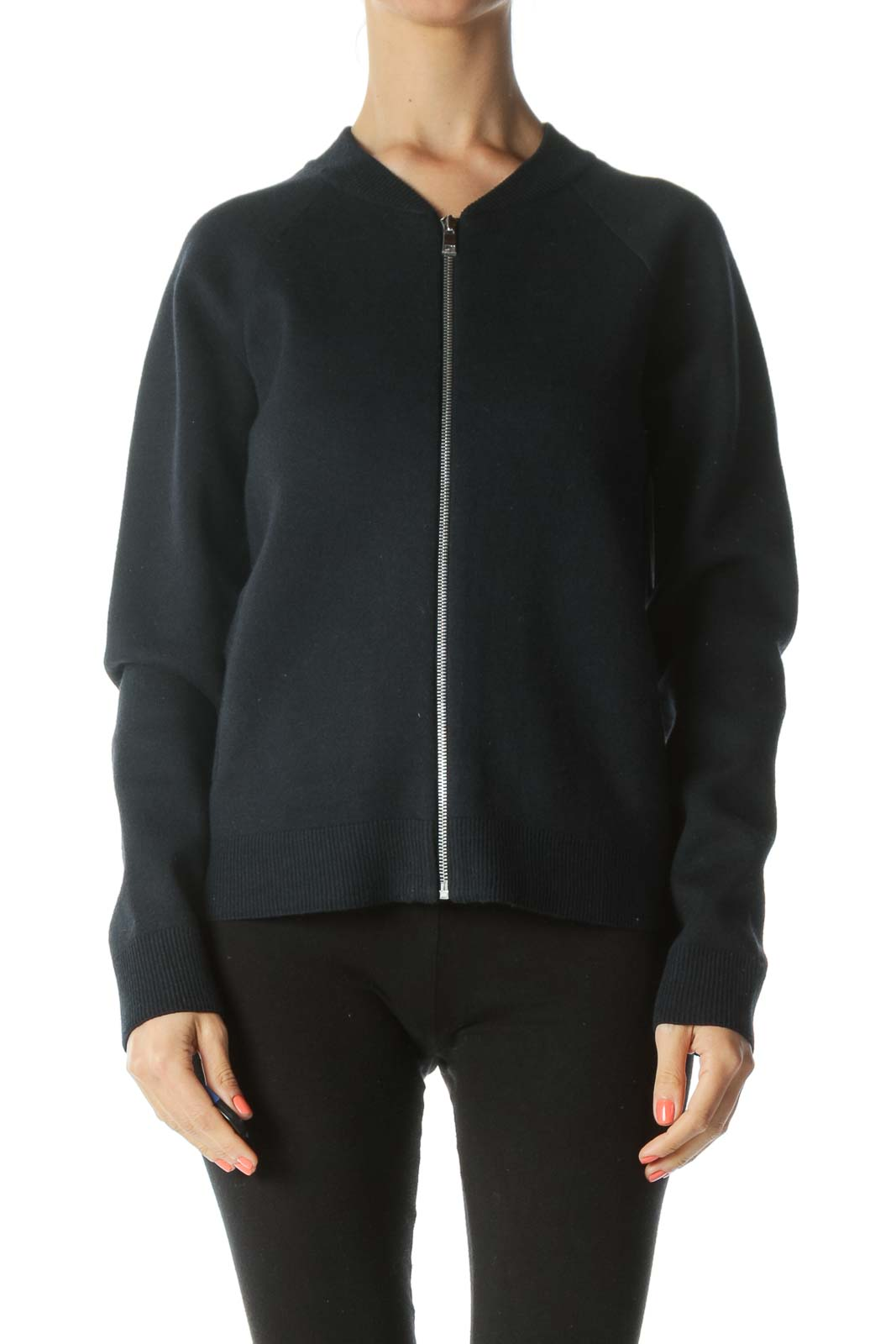 Navy-Blue Cotton Wool Blend Zippered Knit Fitted Jacket
