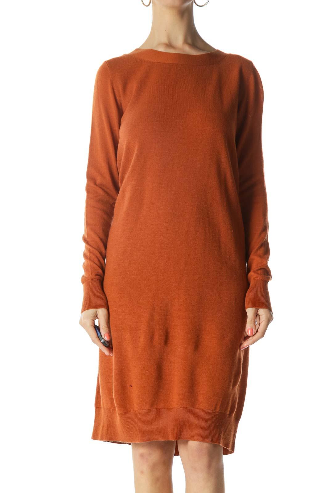 Burnt-Orange Back-V-Neck and Buttoned-Down Knit Dress