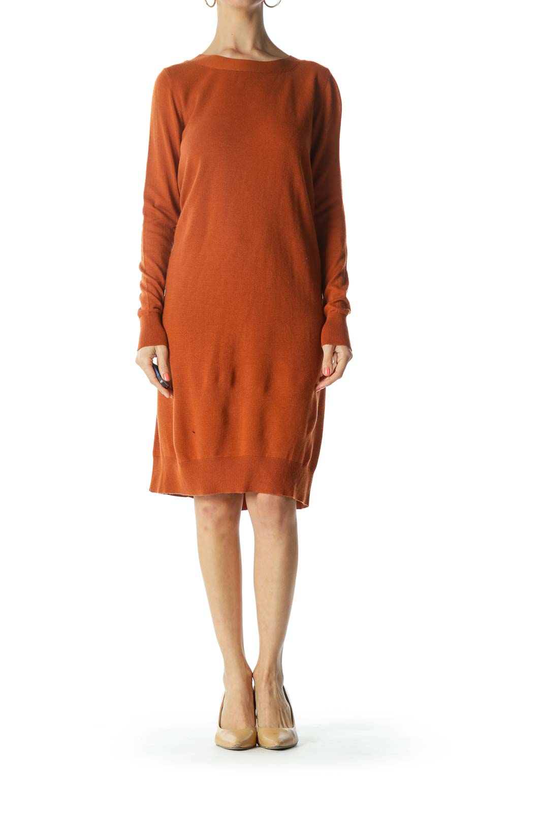 Burnt-Orange Back-V-Neck and Buttoned-Down Knit Dress