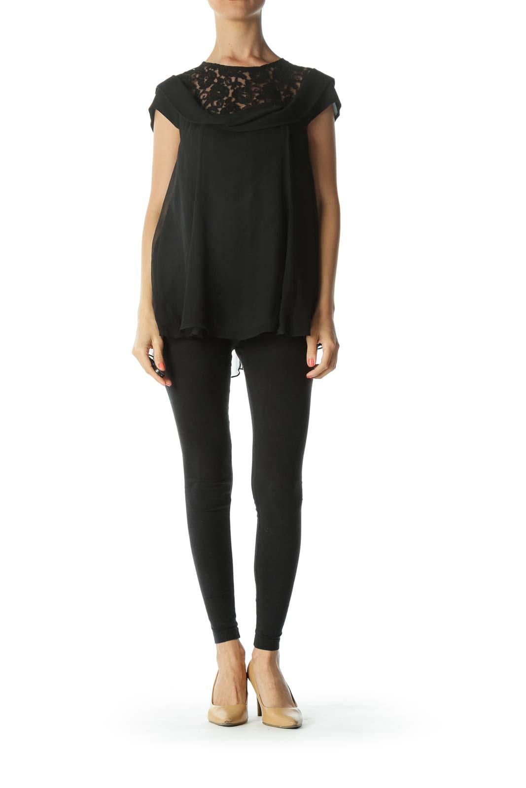 Black Lace-Neck Silk-Draping Cap-Sleeve Designer Blouse