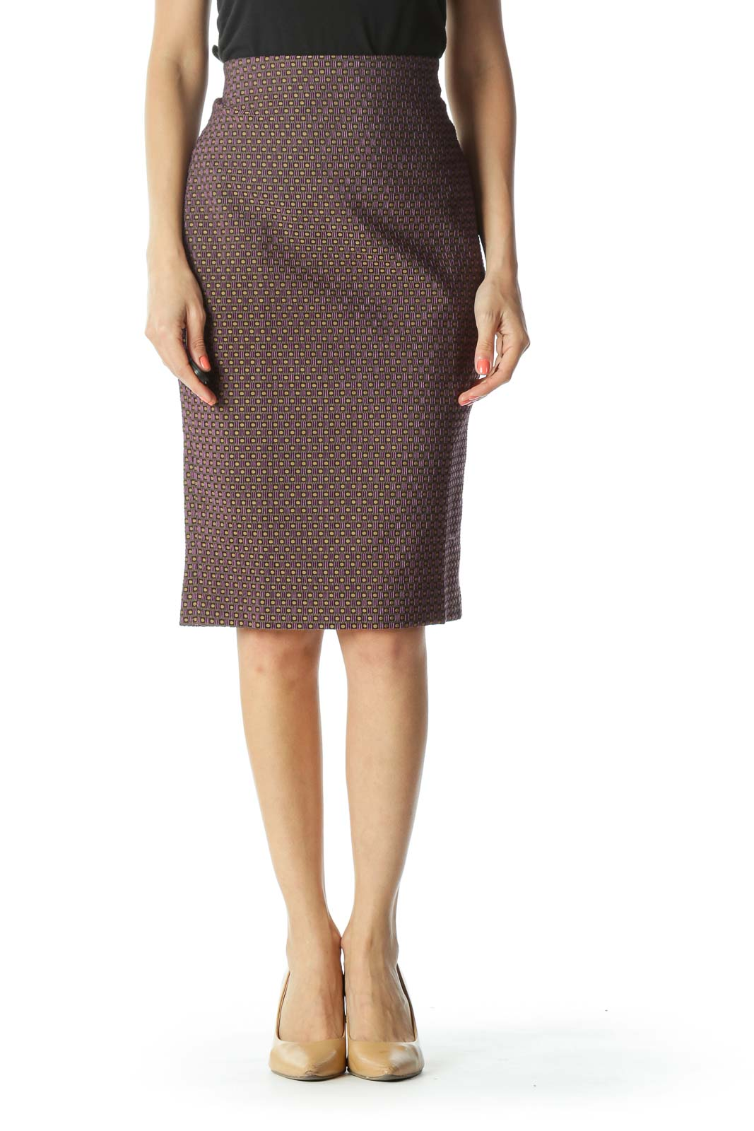 Purple/Gold/Black Textured-Geometric-Pattern Pencil Skirt with Slit and Elastic-Waist-Band