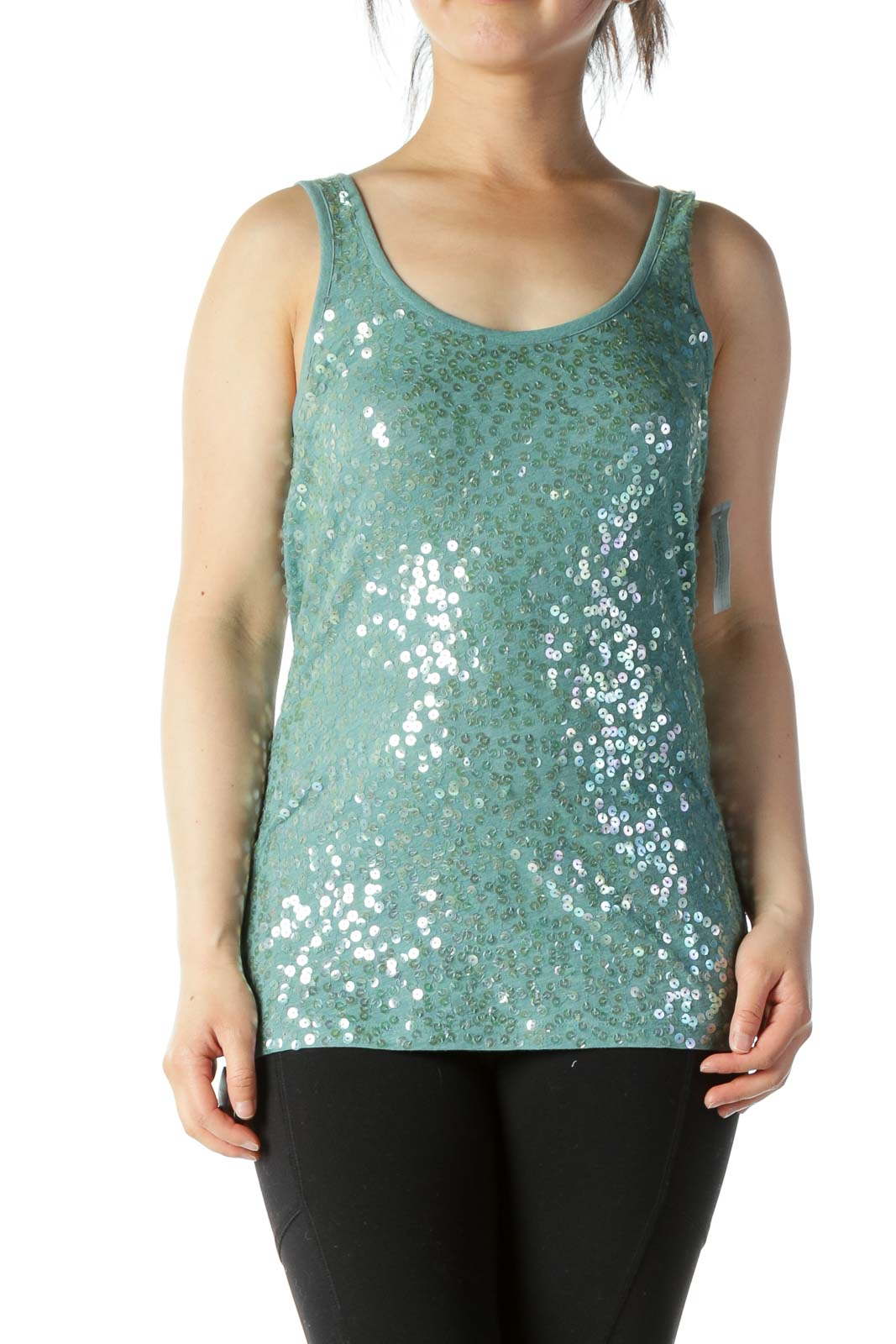 Turquoise Sequined Knit Tank