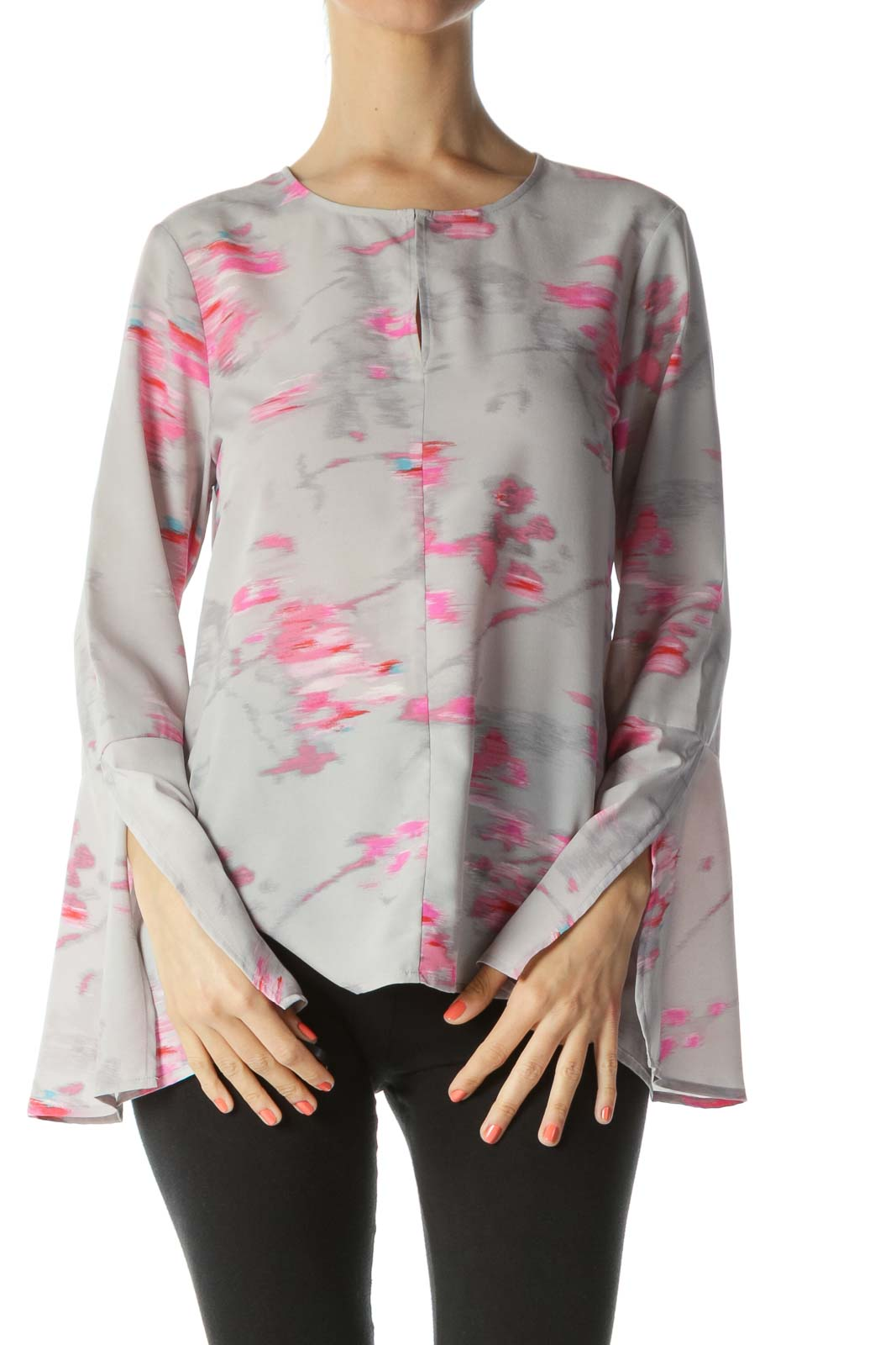 Gray/Pink Keyhole with Hook Printed Flared-Sleeves Tunic Blouse