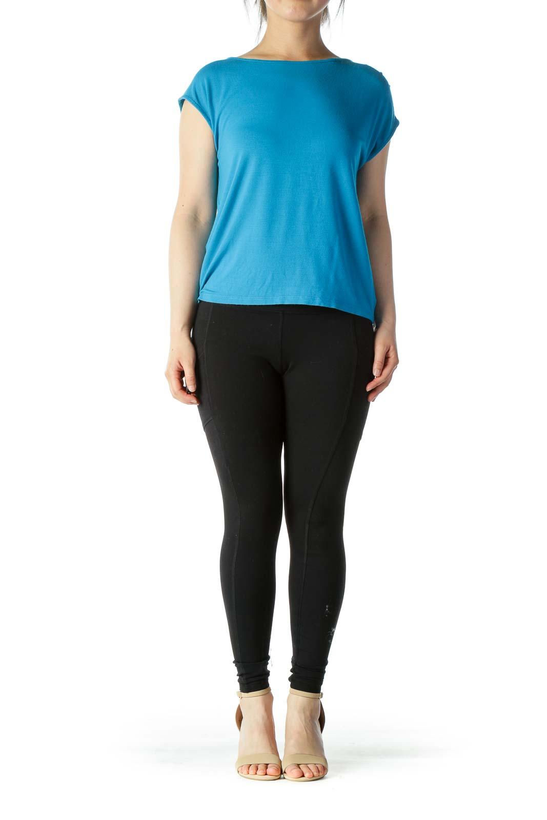 Bright Blue Short Sleeves Top