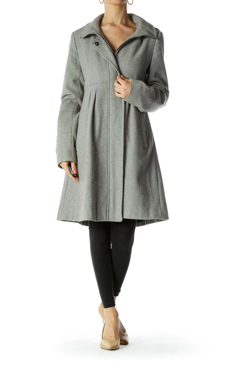 Gray Wool-Blend Detachable-Hood Snap-Buttons Zippered Padded Coat