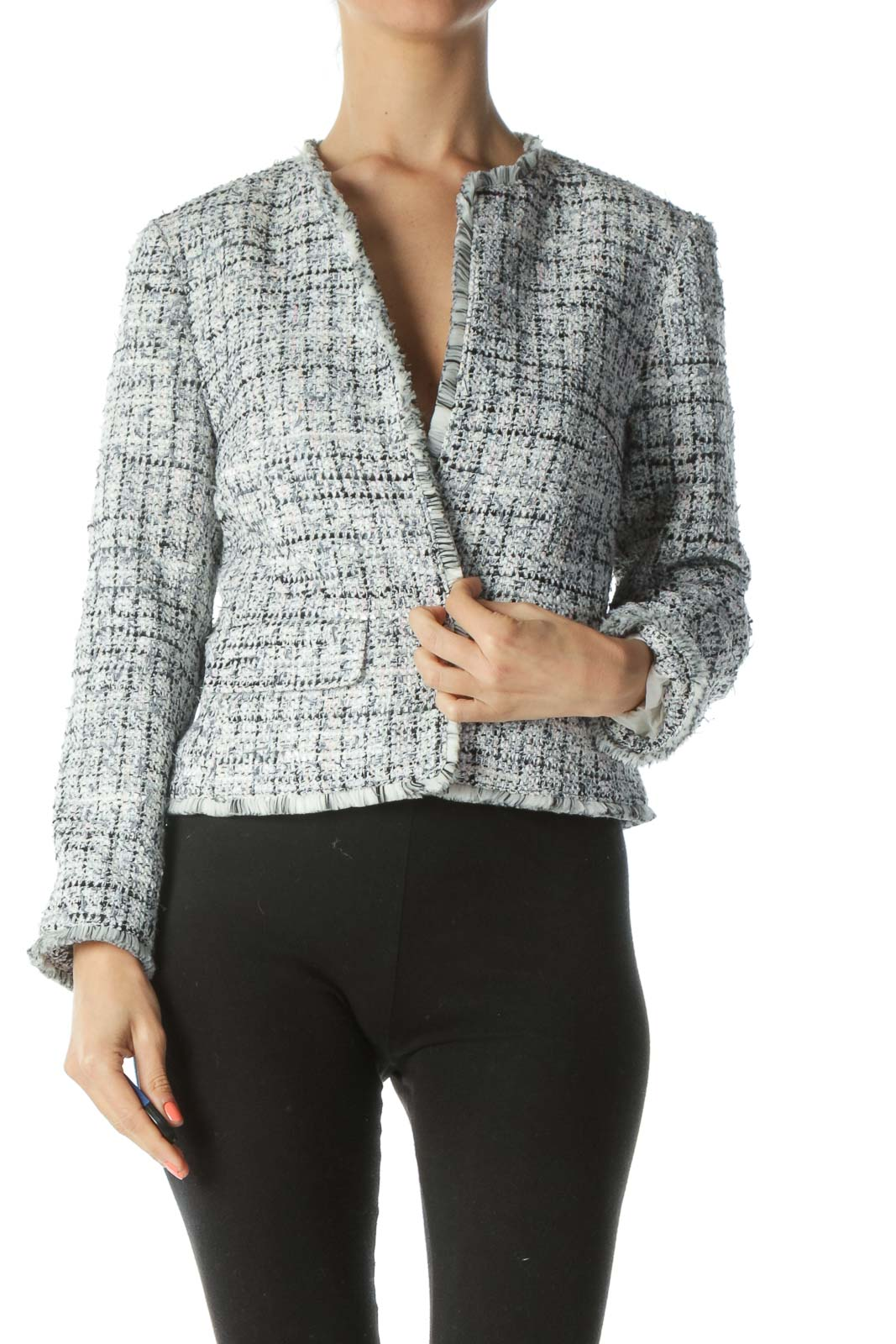 Black/Cream/Pink/Blue Knitted Long-Sleeve Open Blazer