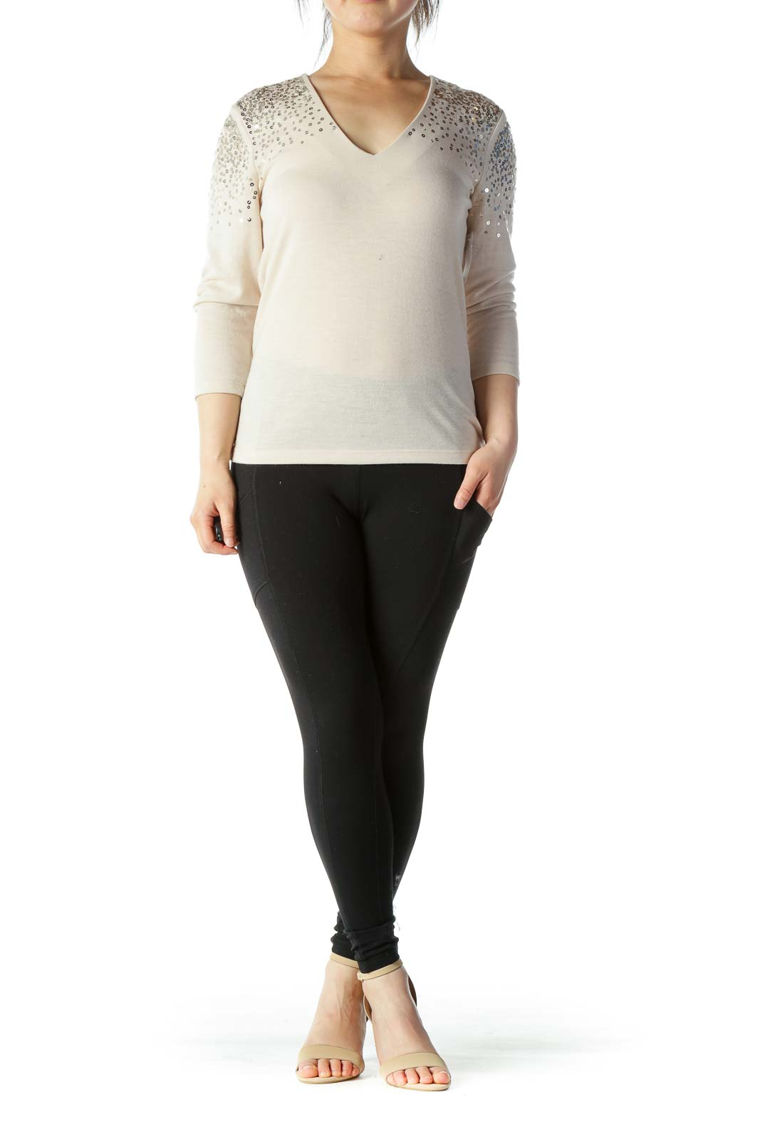 Beige Gold-Sequined Long-Sleeve V-Neck Light-Weight Sweater