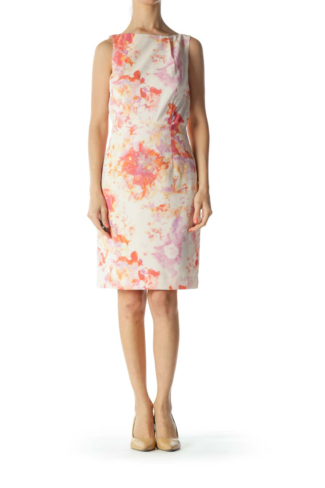 Orange/Pink/Purple Gather-Neckline Cinched-Waist Dress