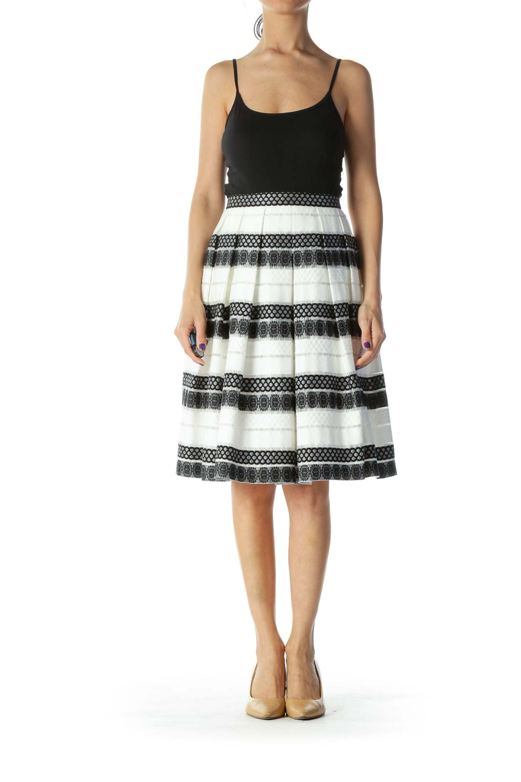 Black and White Embroidered Pleated Flared Skirt