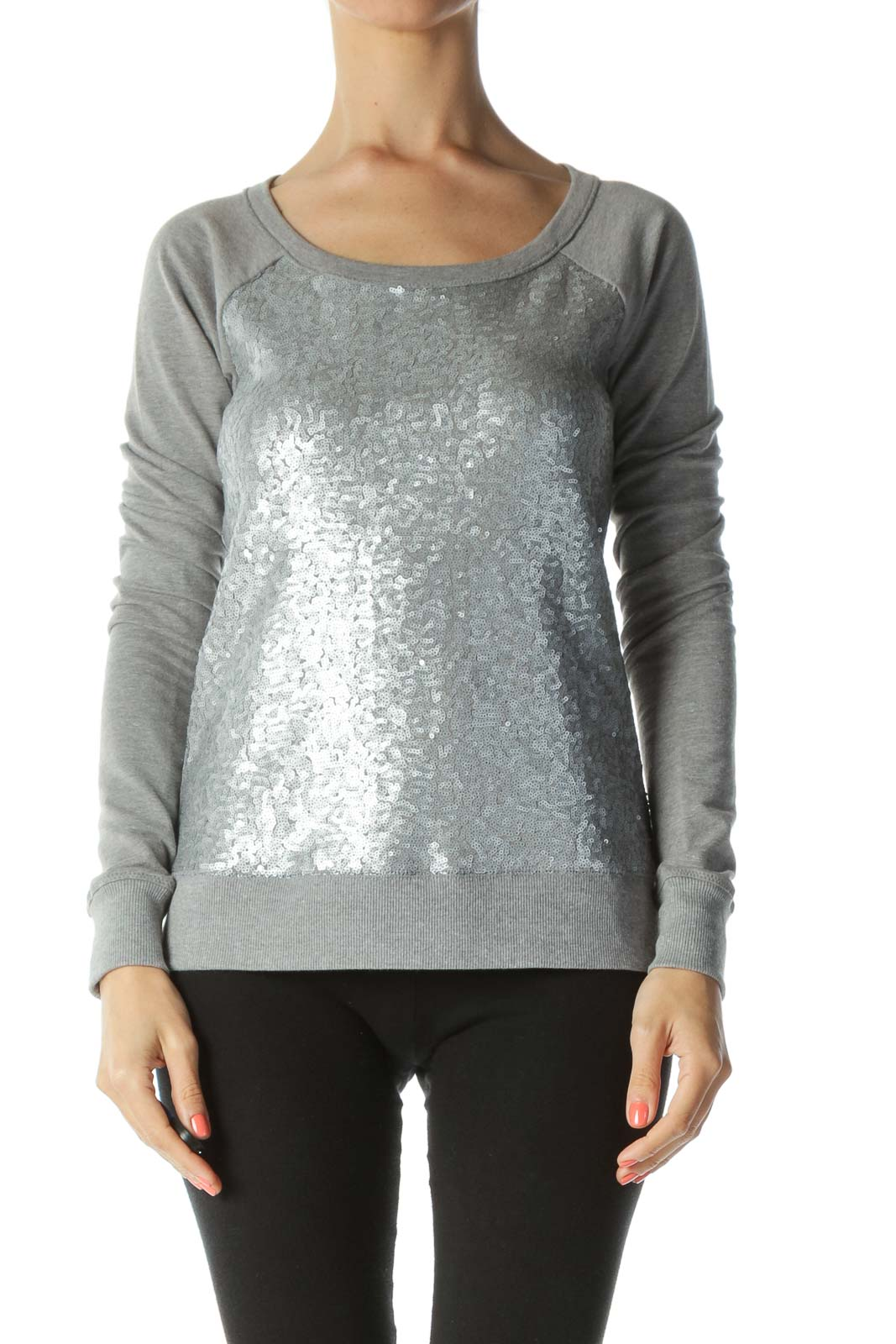 Gray Sequined-Front Long-Sleeve Sweat Top