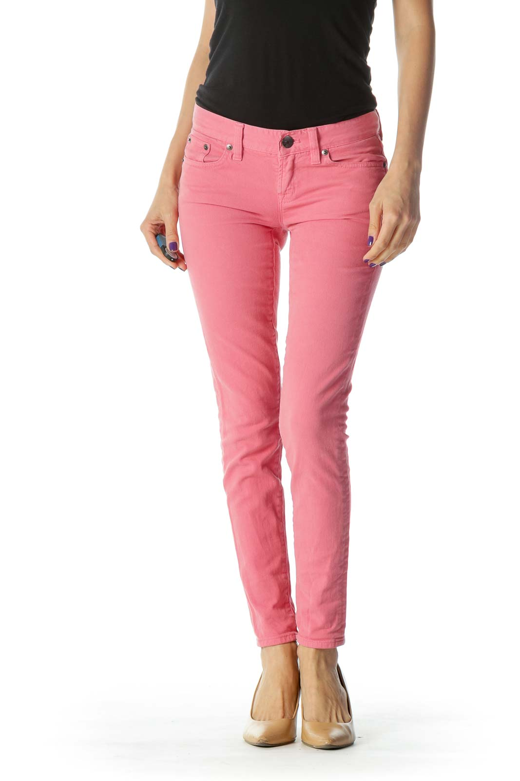 Pink Toothpick Low Rise Ankle Length Jeans
