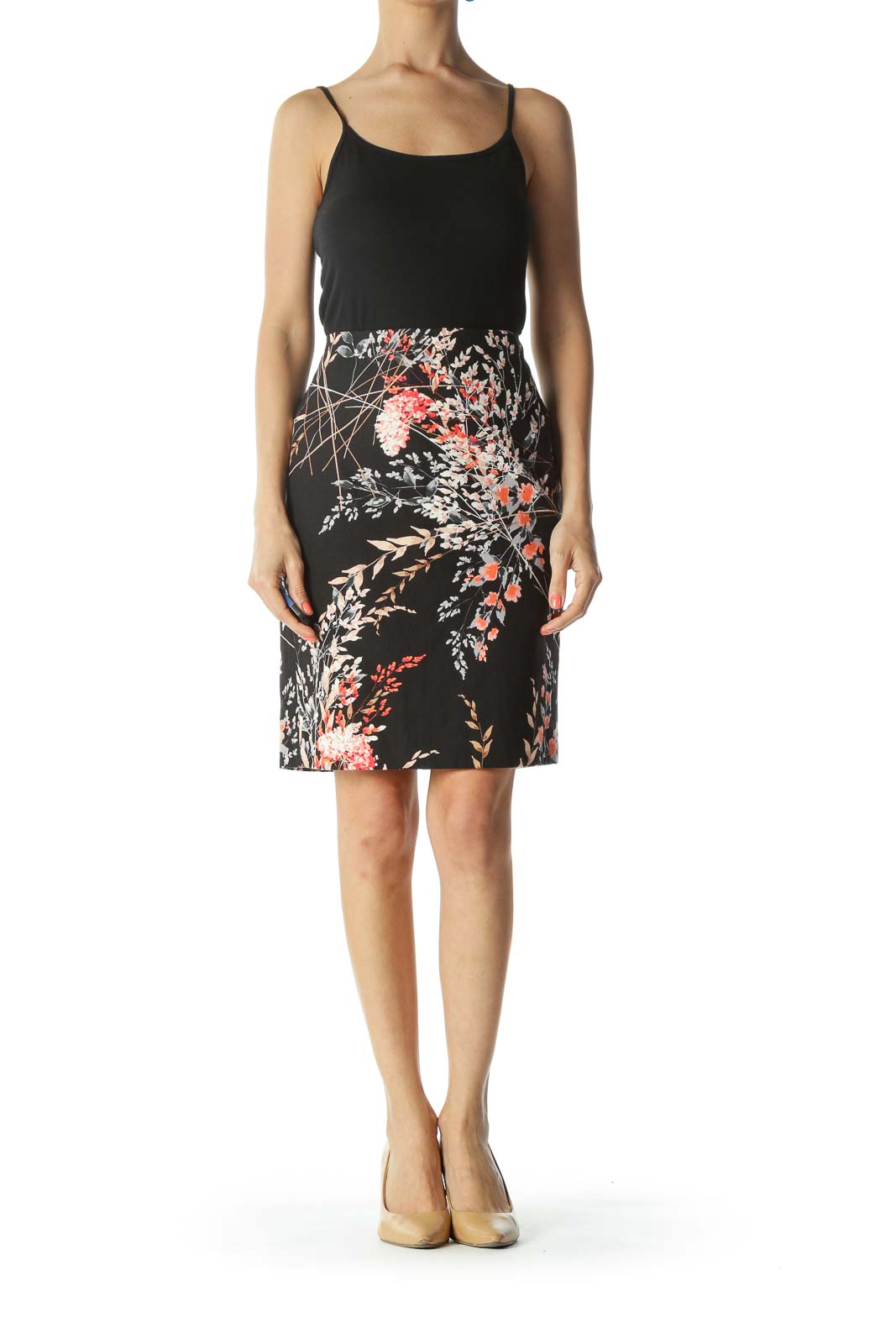Black/Orange/Beige Floral-Print Back-Slit Pencil Skirt