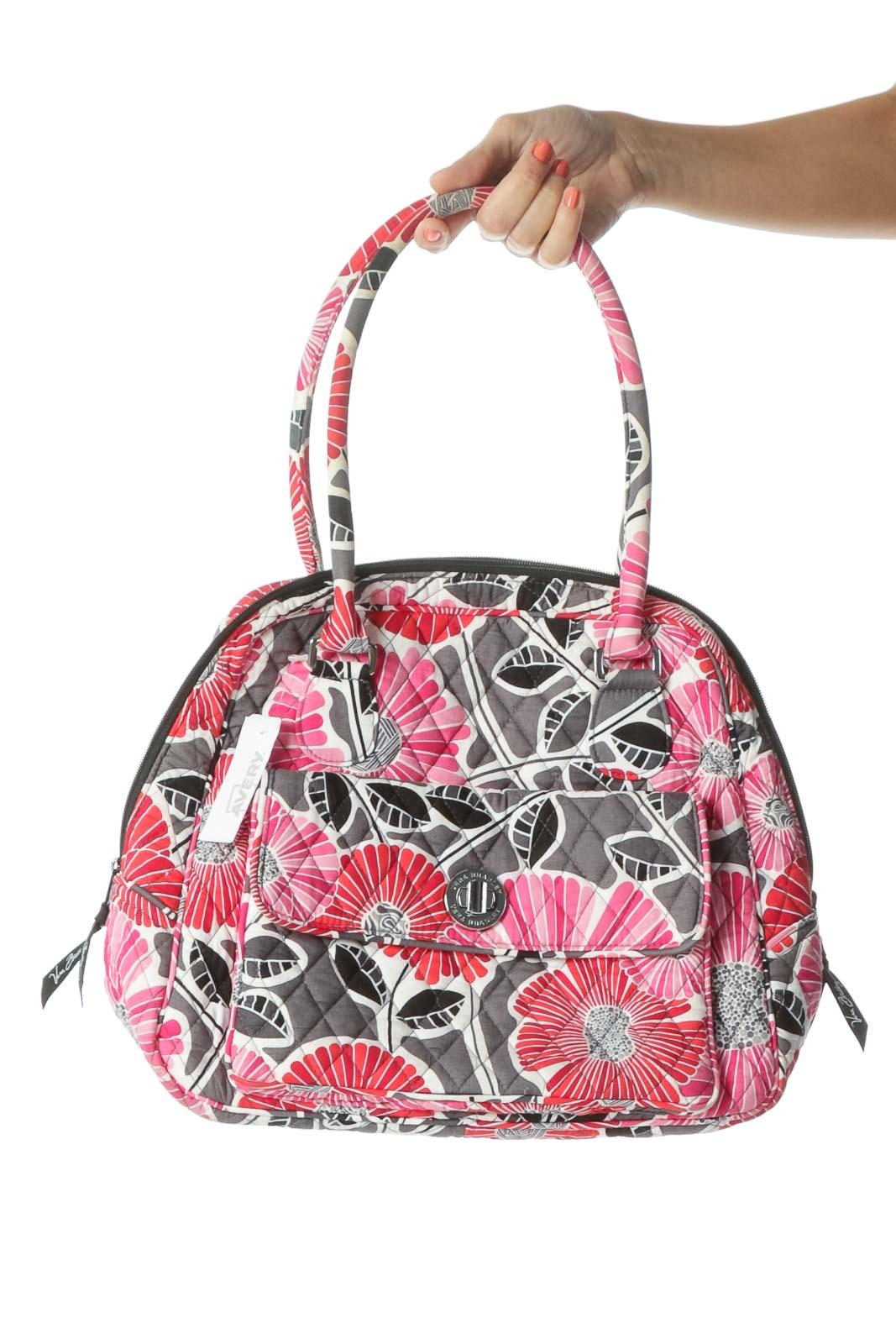 Pink Gray & Black Floral Quilted Shoulder Bag