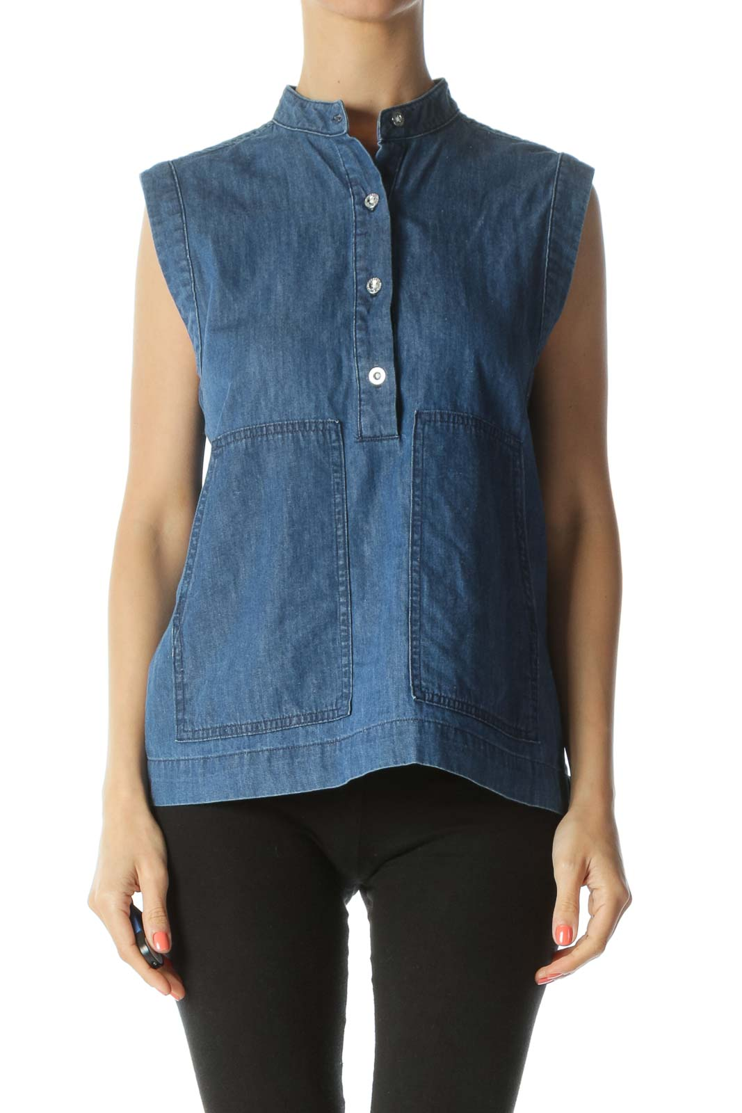 Blue Denim Sleeveless Pocketed Buttoned Blouse with Mandarin Collar