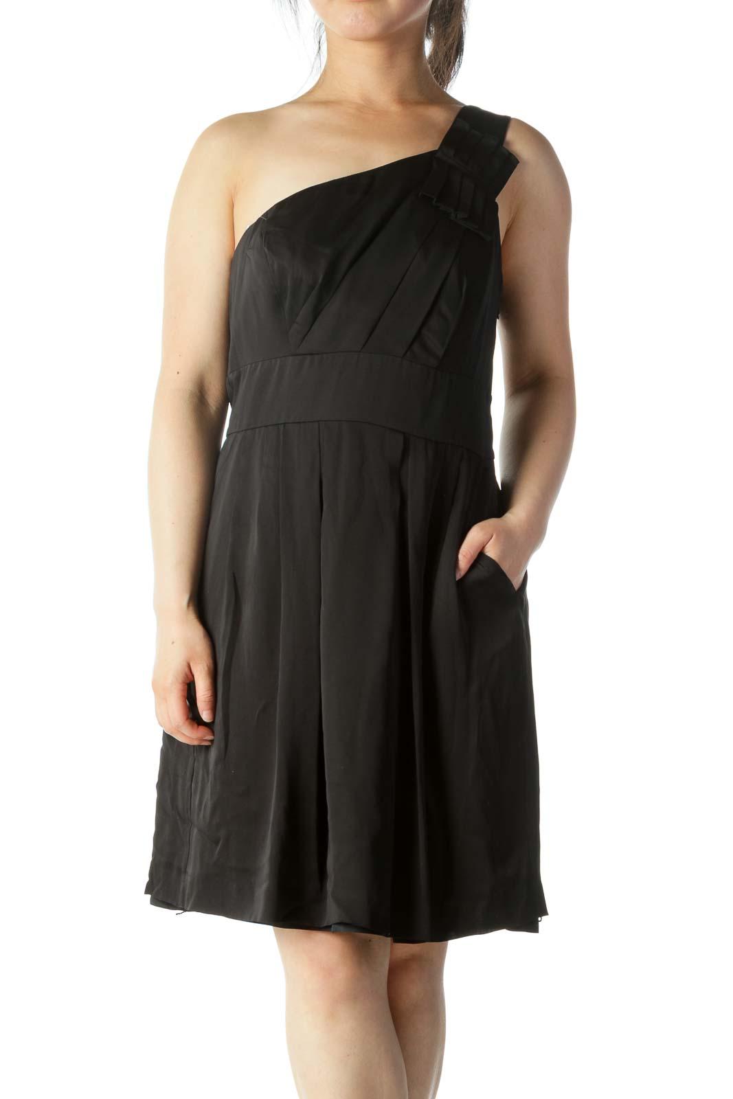 Black Silk One-Shoulder Cocktail Dress