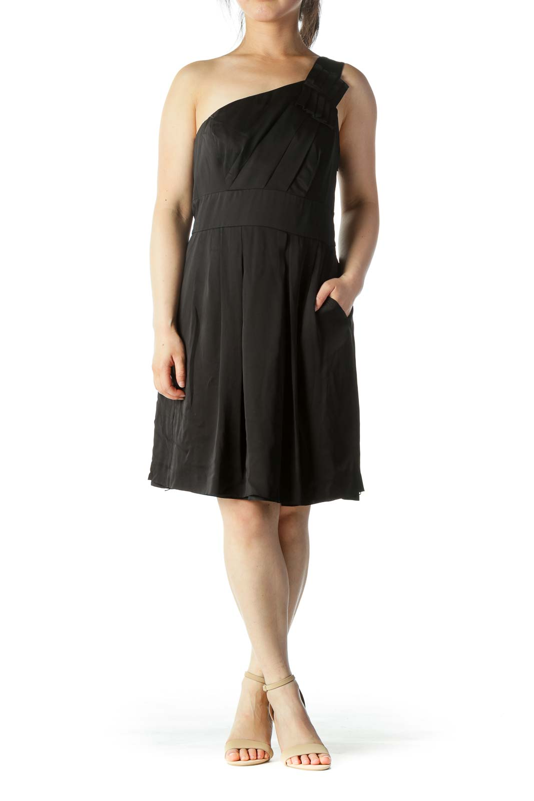 Black Silk One-Shoulder Cocktail Dress