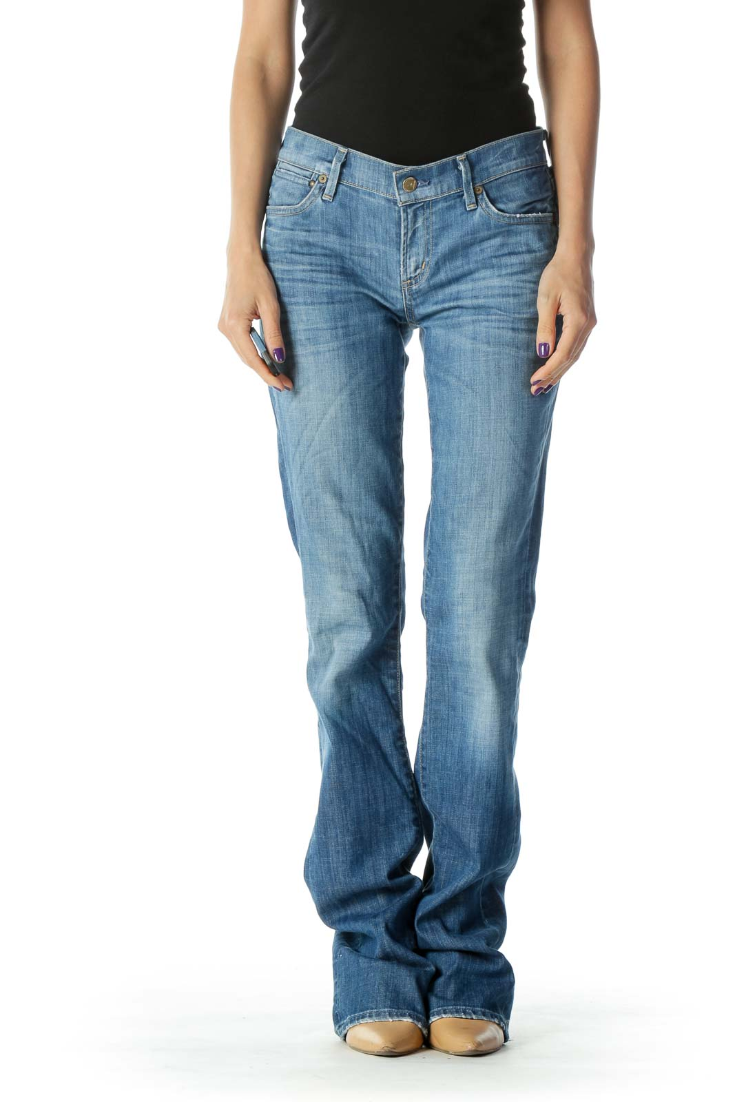 Blue Light Wash Mid Rise Slim Boot Cut Jean