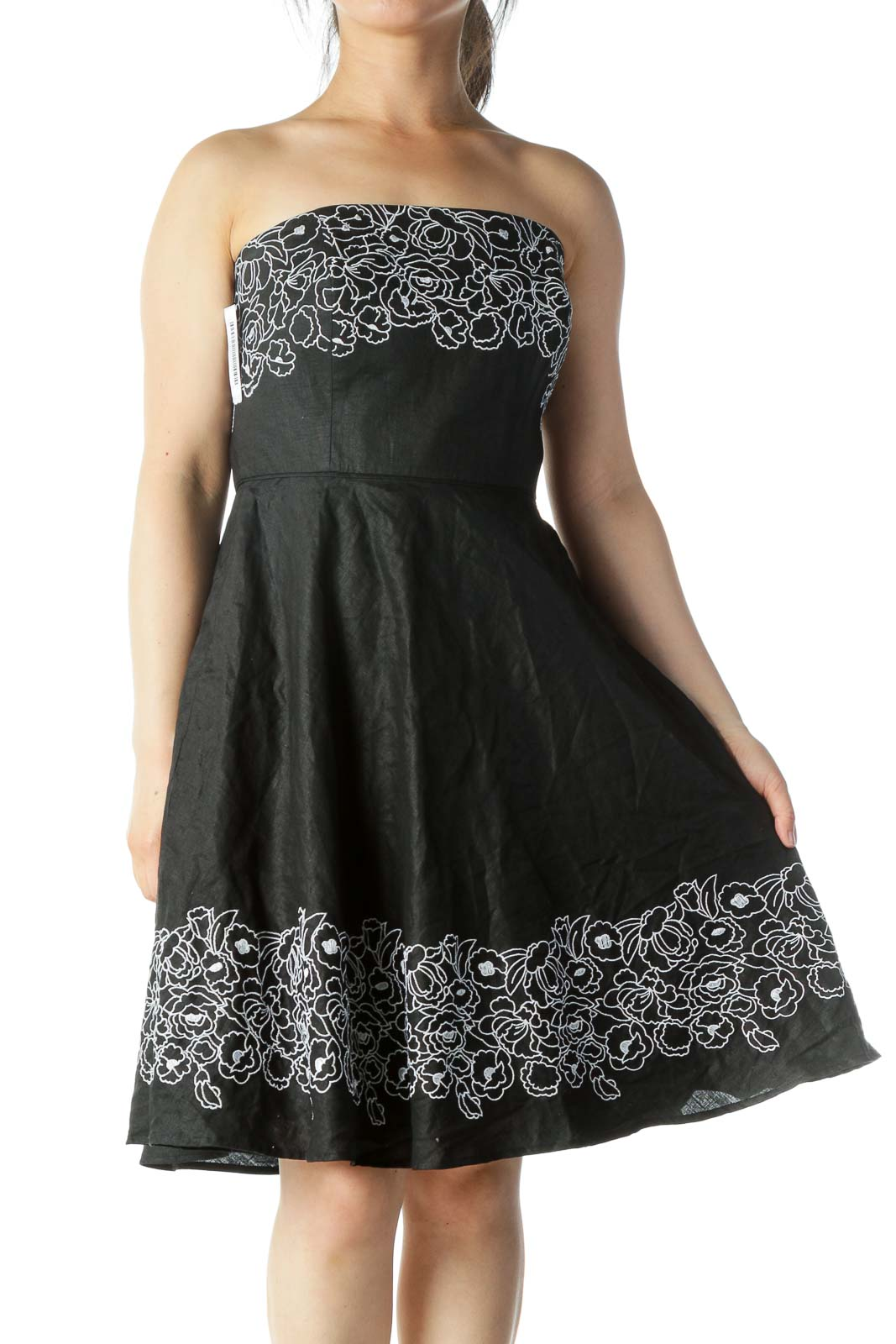 Black with White Floral Embroidery Cocktail Dress
