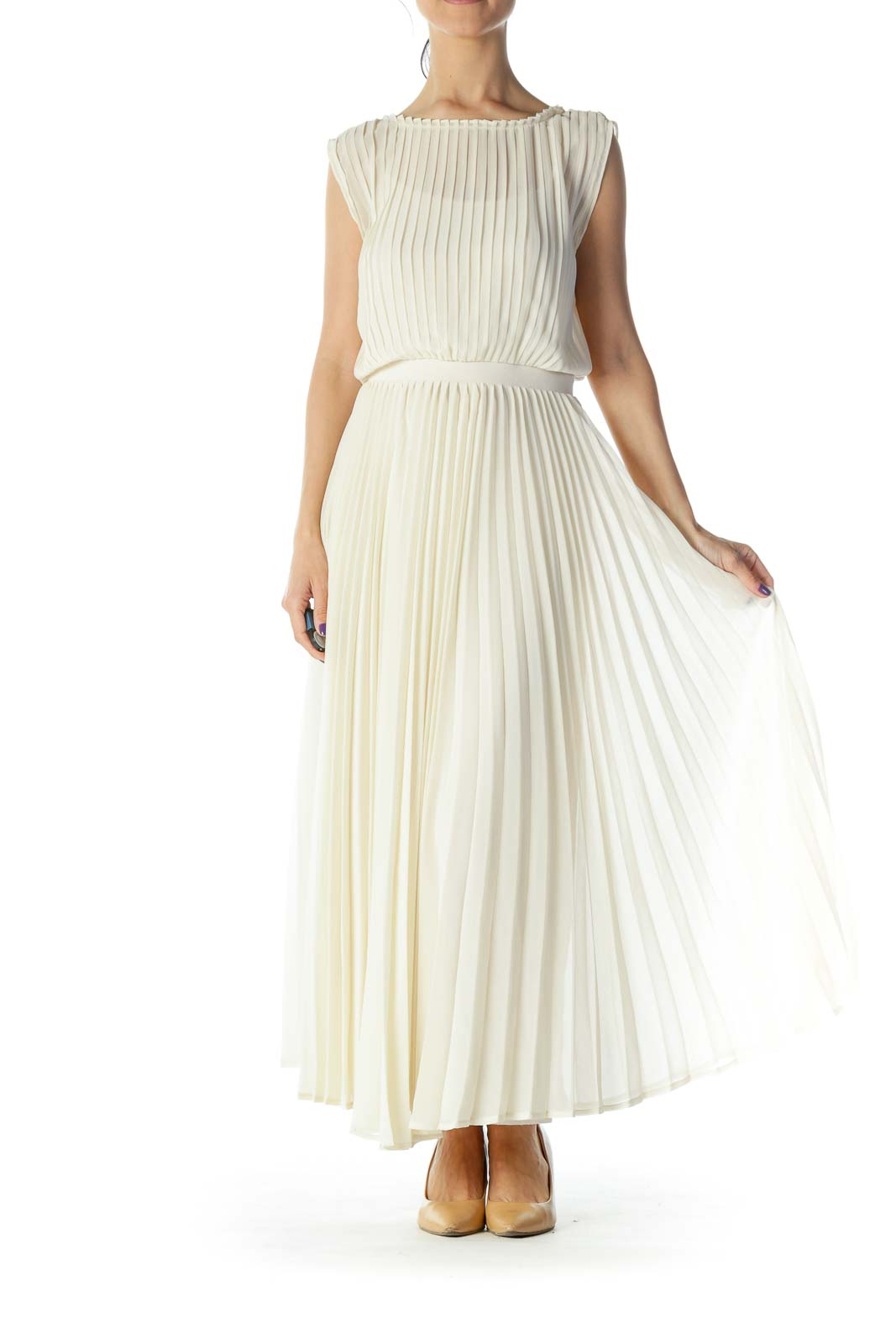 Cream Pleated Maxi Dress