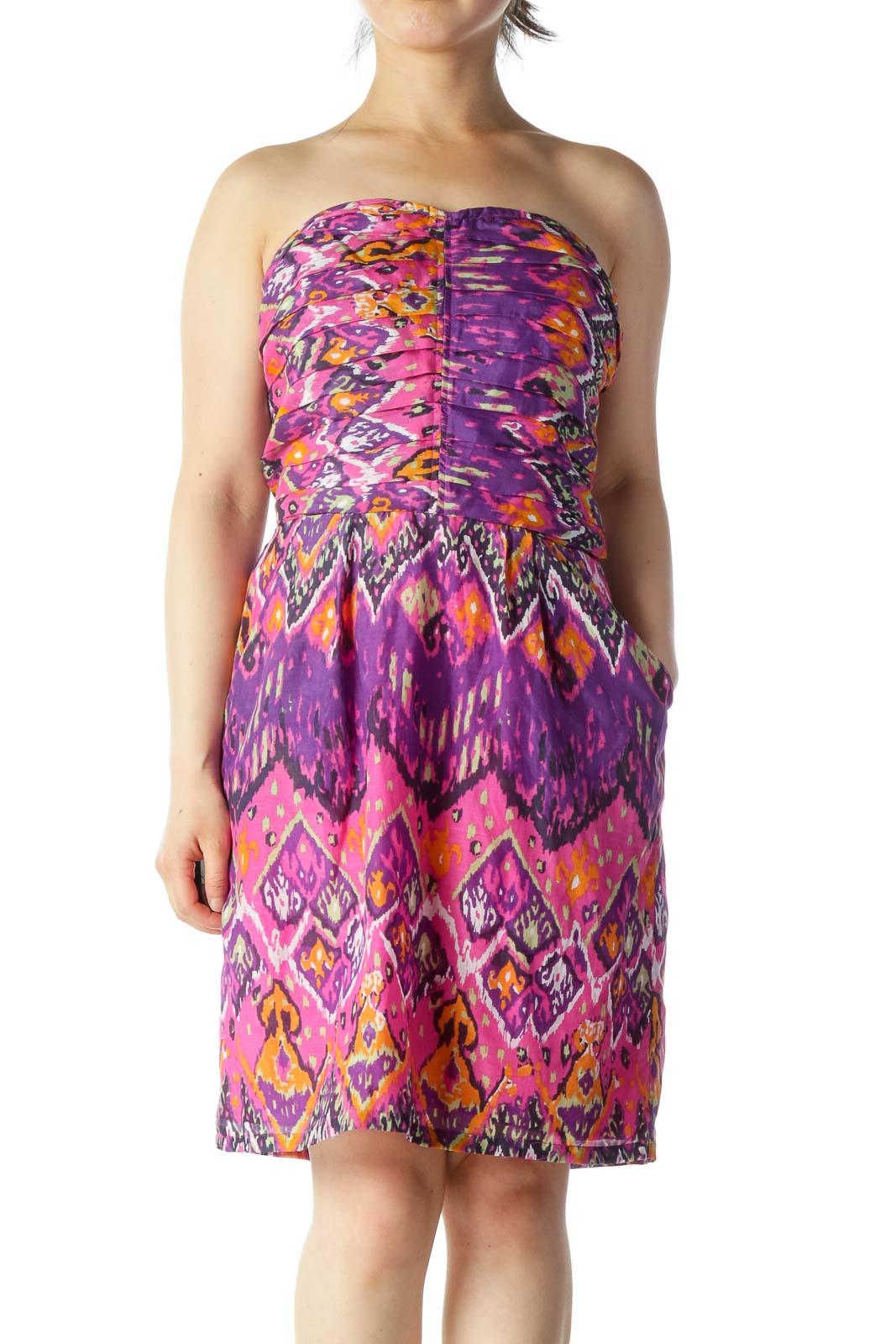 Multicolor Patterned Cocktail Dress