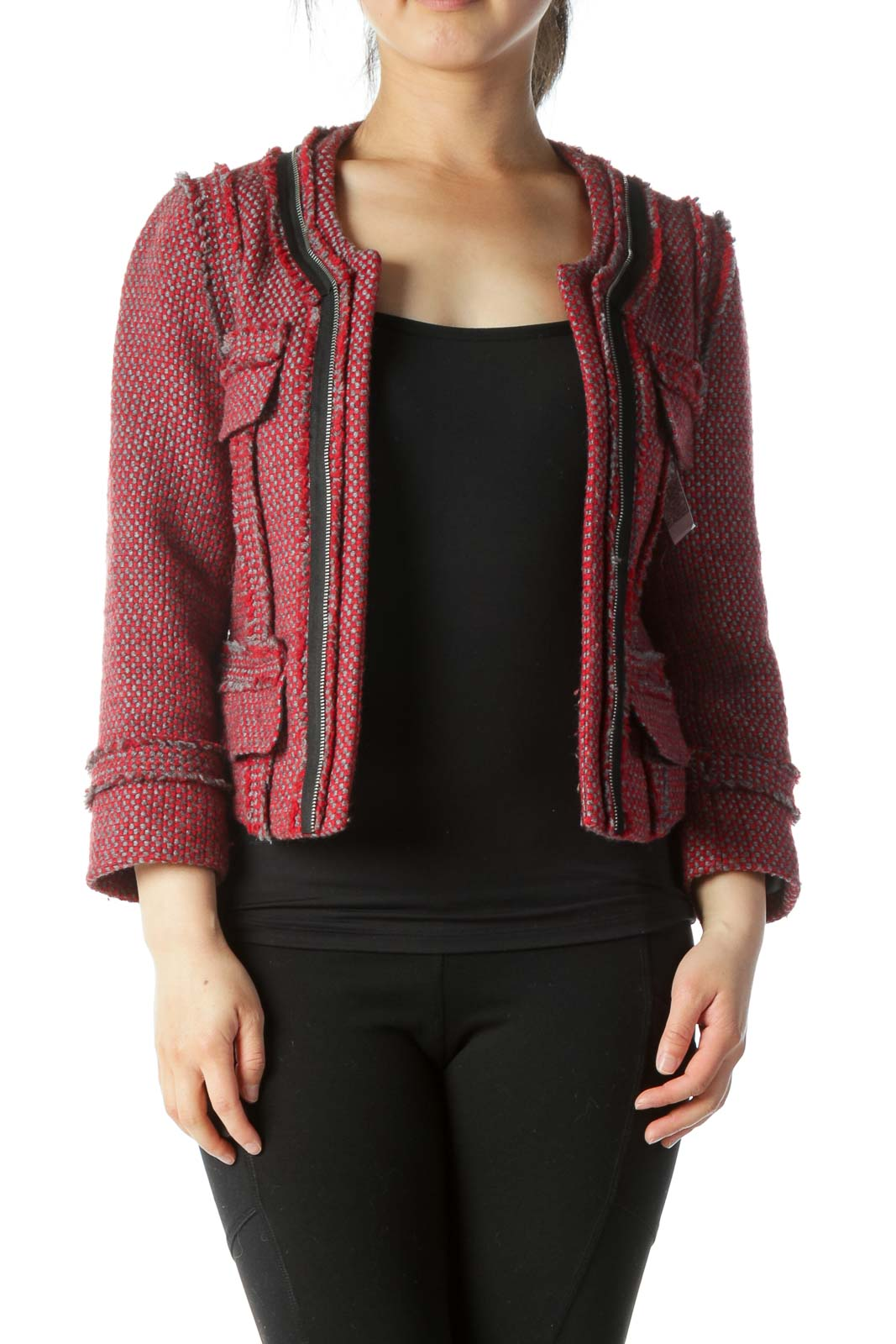 Red, Grey, and  Black Round Neck Frill Jacket