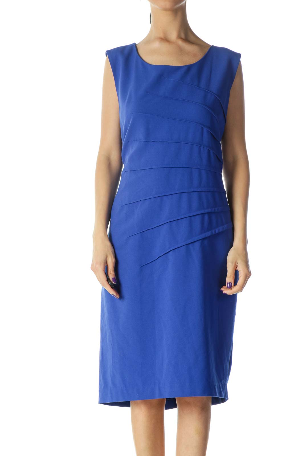 Blue Sheath Work Dress