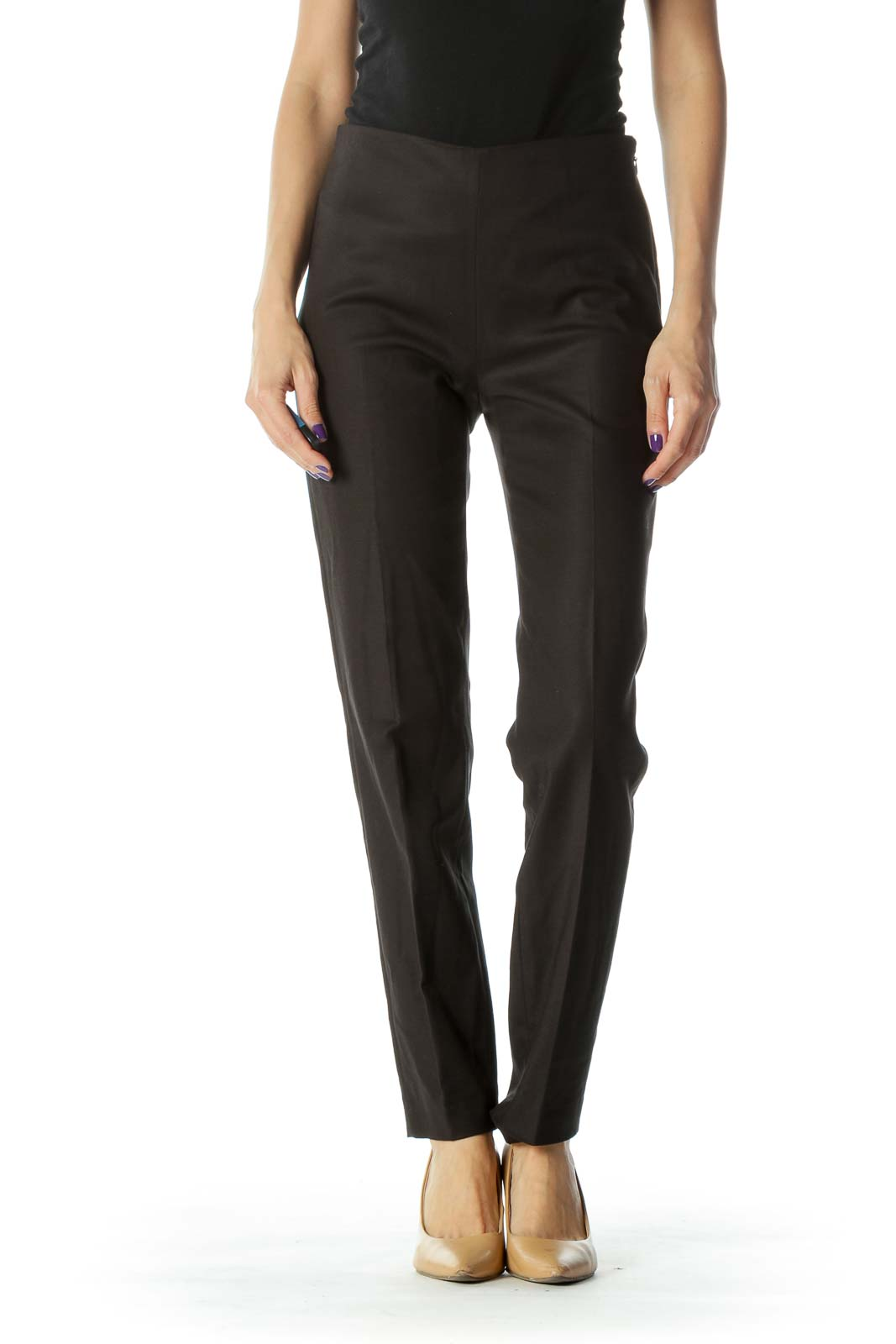 Black High Waist  Slim Fit Pant