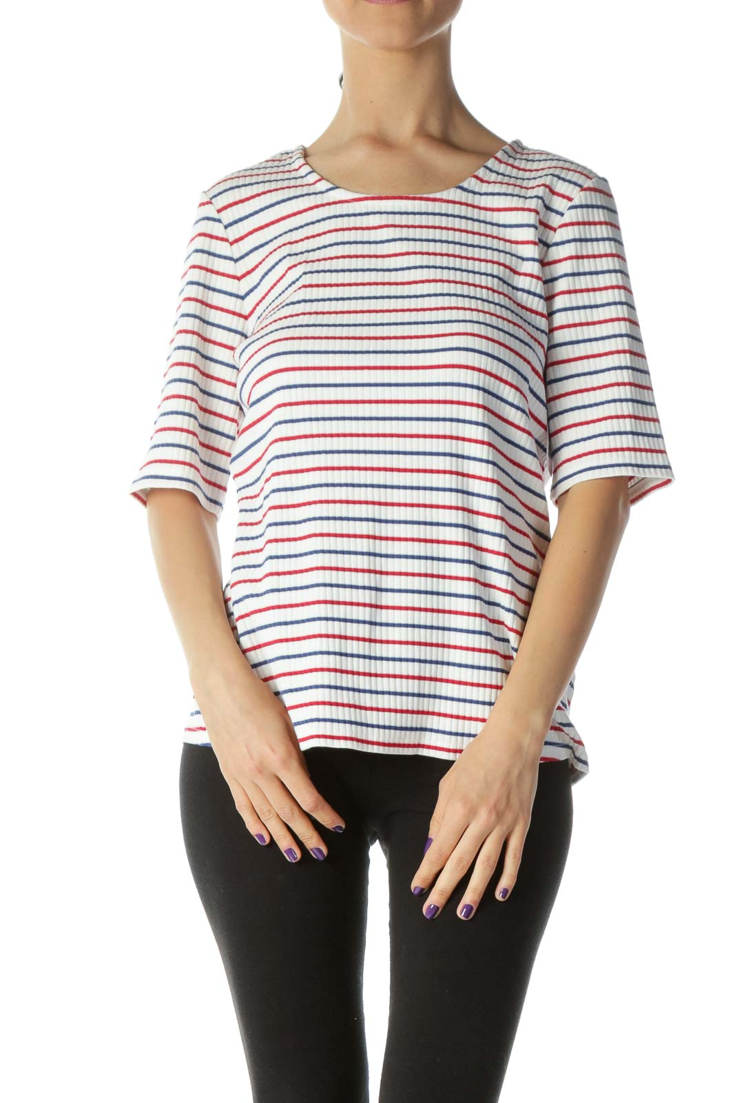 Red White & Blue Striped Ribbed Short Sleeve Knit Top