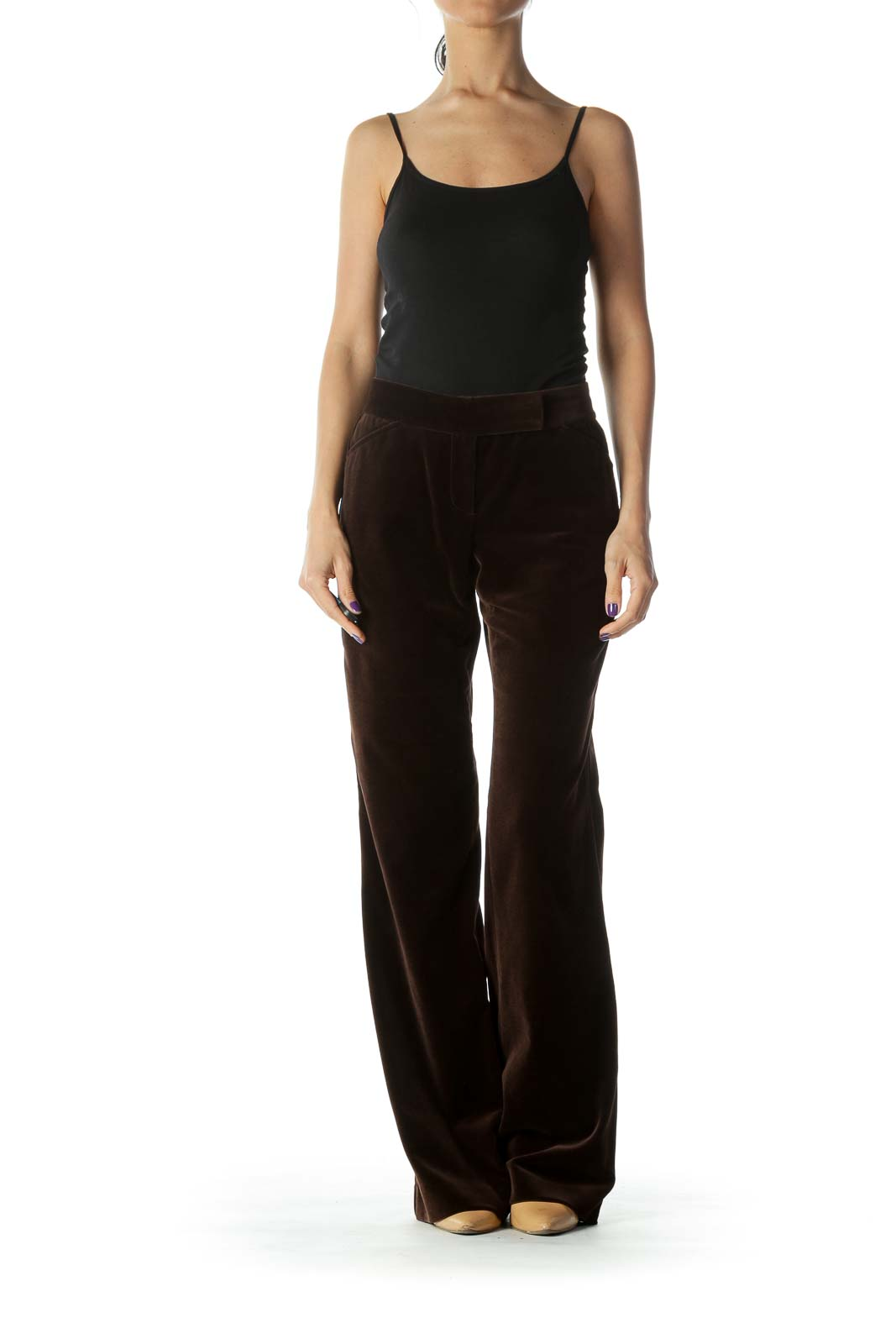 Brown Velvet Boot Cut Pants
