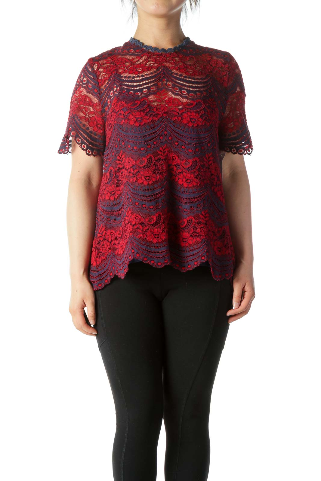 Red & Blue Lace Blouse w/ Back Lace-Up and Built-in Camisole