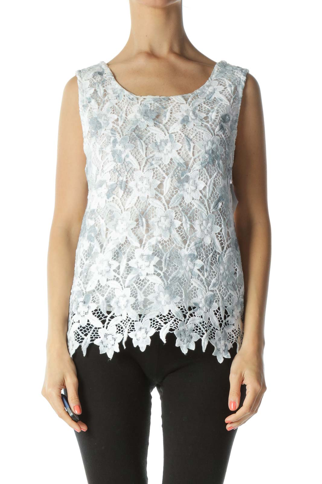 Blue & White Lace Floral Sleeveless Lined Blouse