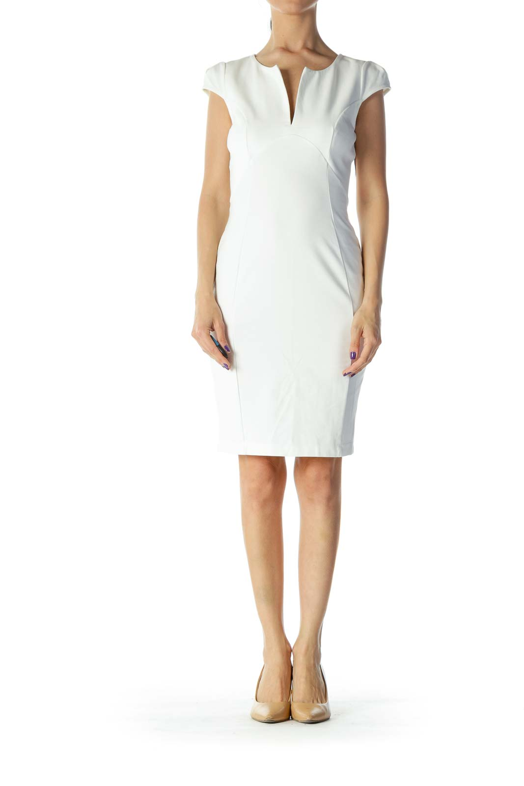 Cream Bodycon Work Dress