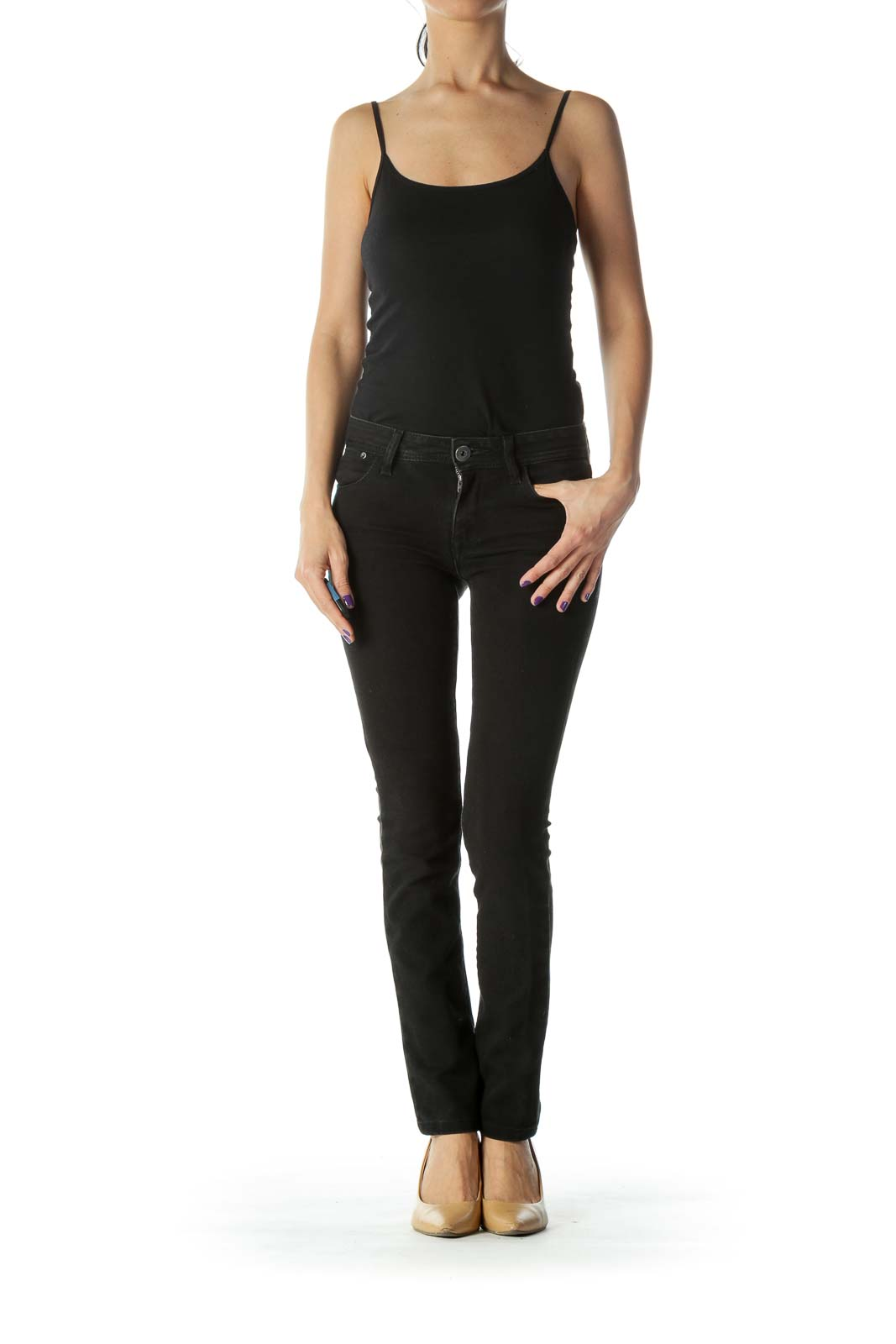 Black Stretchy High- Waist Straight Leg Jeans