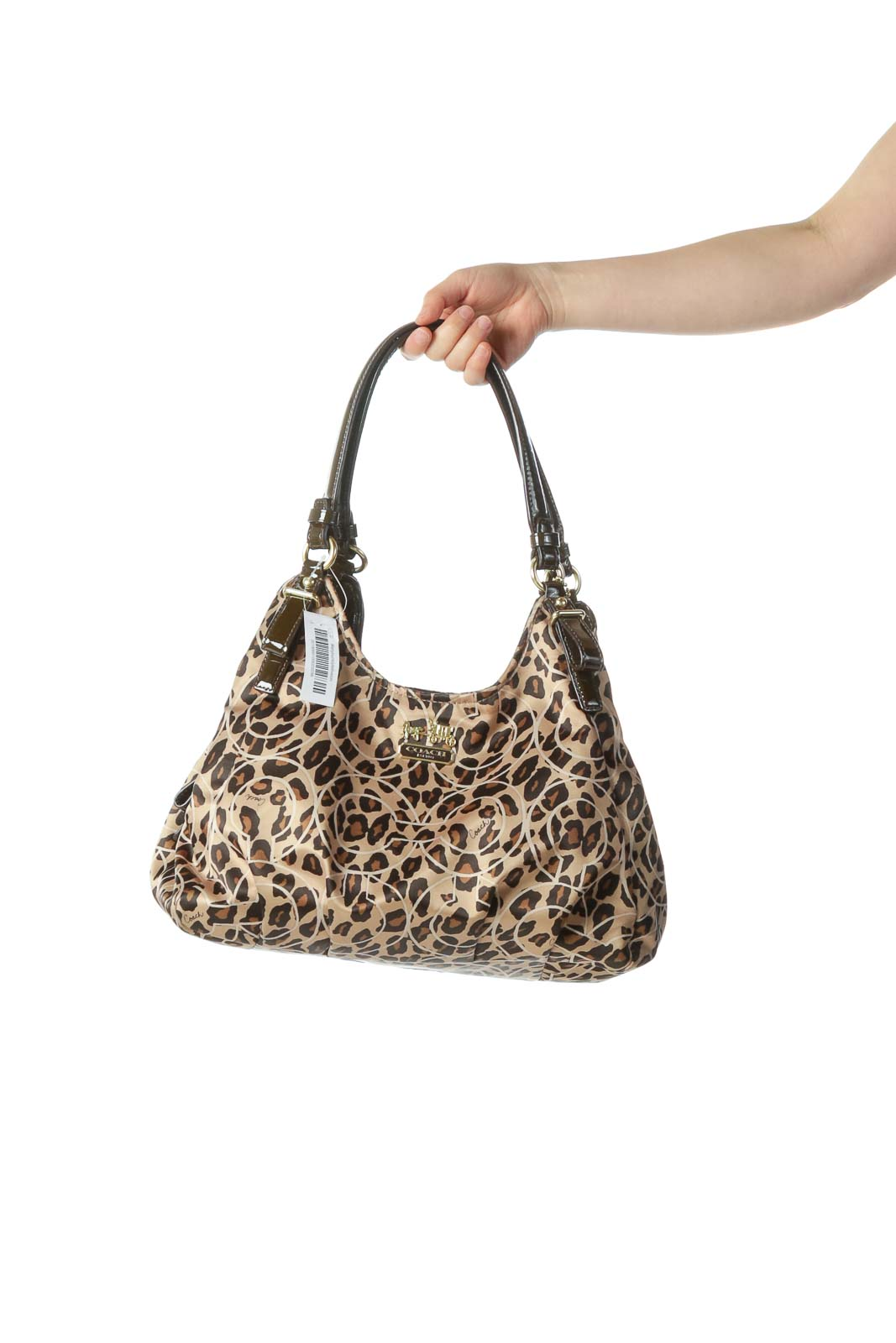 532570b3 Shop Gold Animal Print Shoulder Bag clothing and handbags at ...