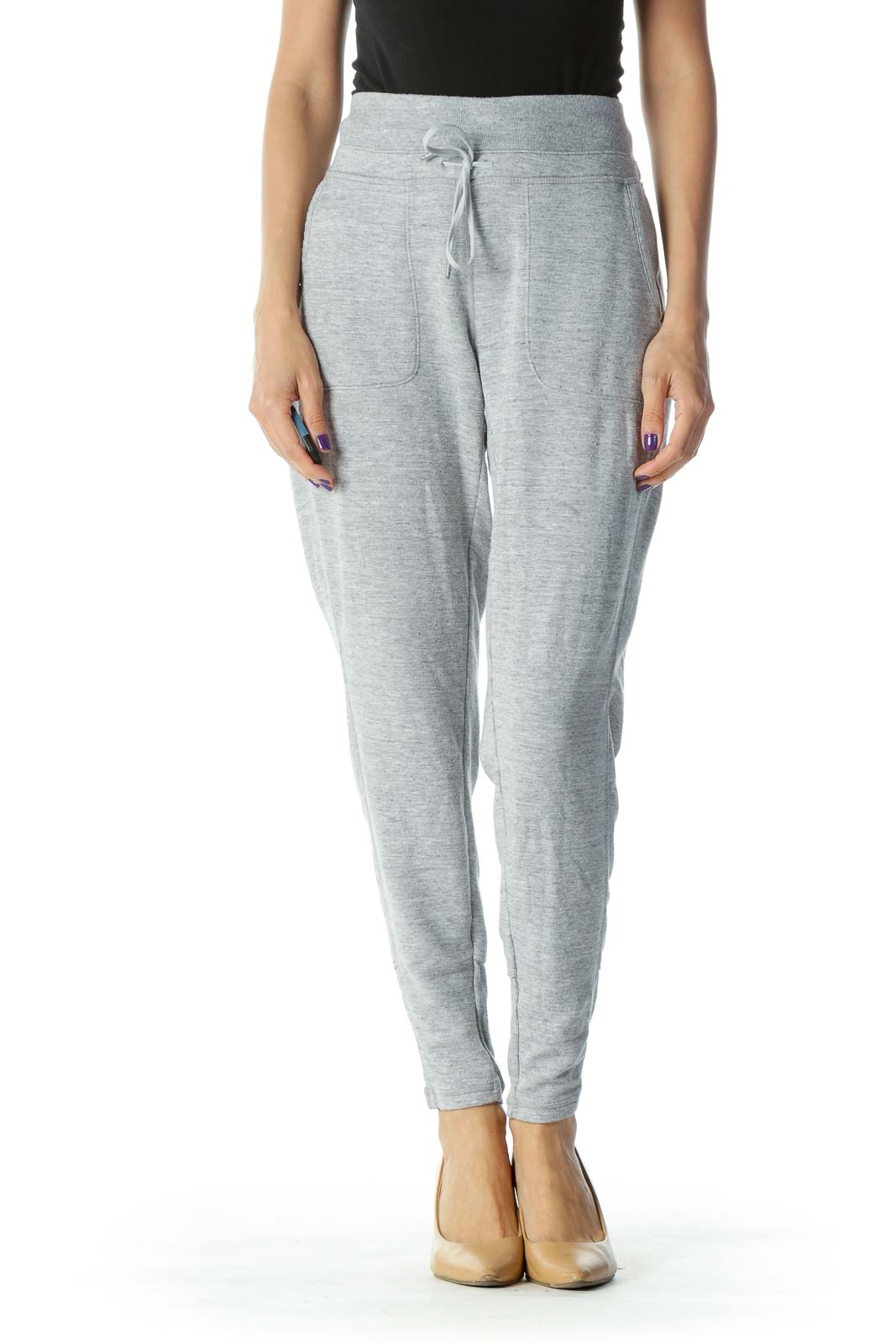 Grey Tie Front Sweat Sport Pant
