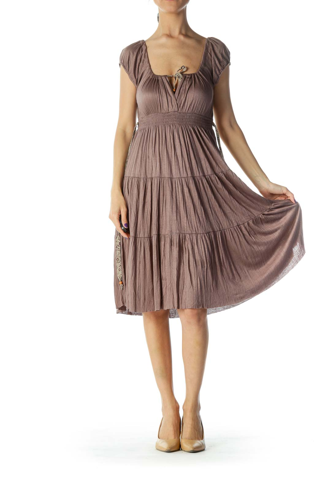 Brown Detail Midi Dress