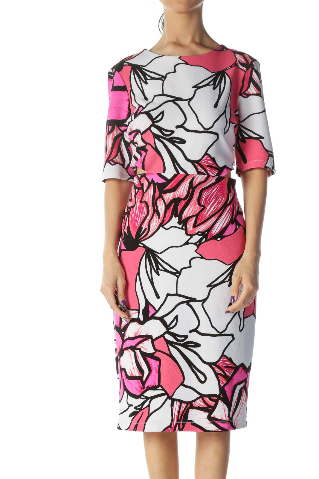 Multicolor Floral Sheath Work Dress
