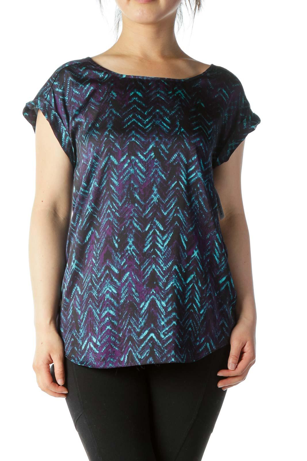 Black Teal & Purple Printed Cap-Sleeve Blouse