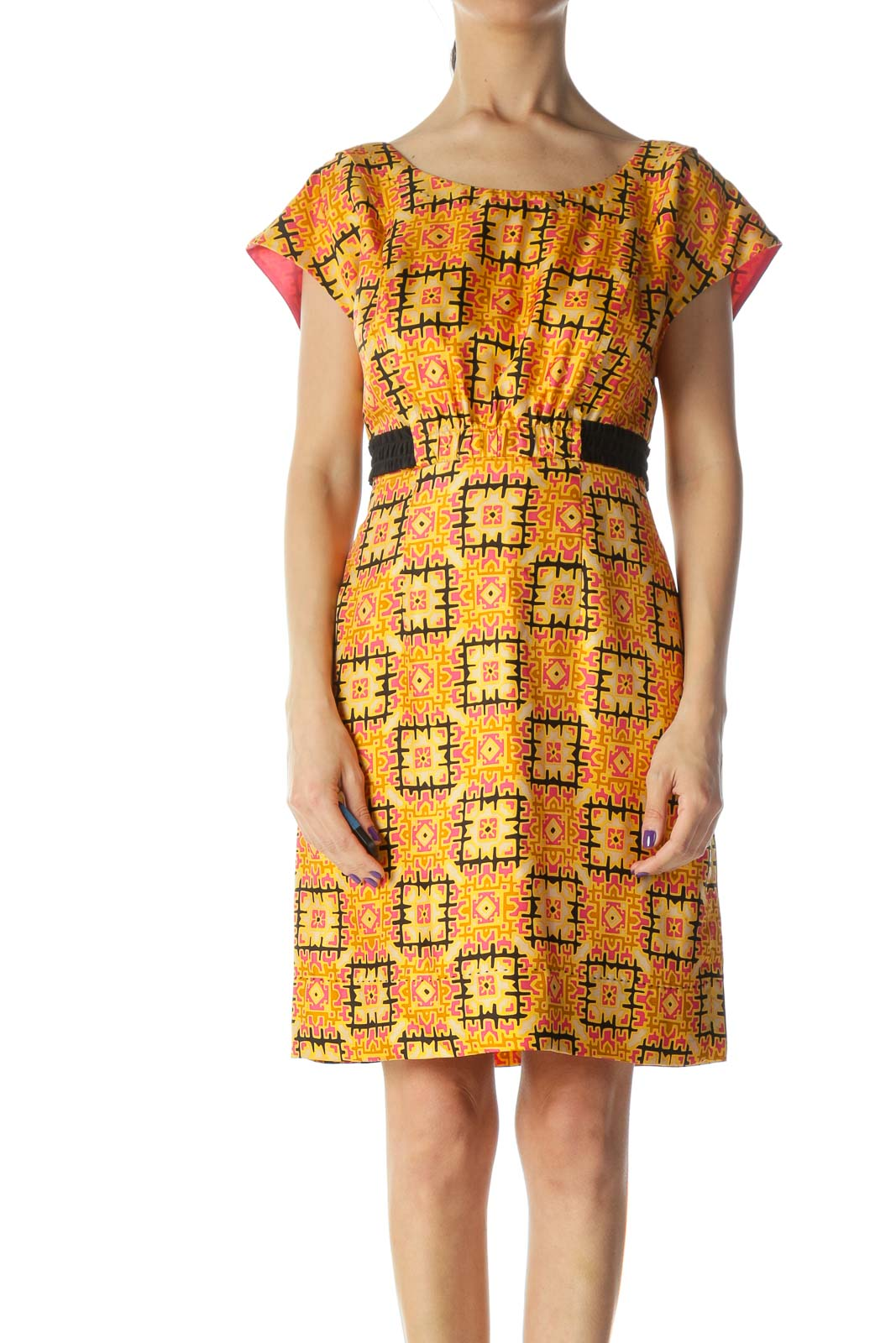 Orange and Multicolored Pattern Silk Work Dress
