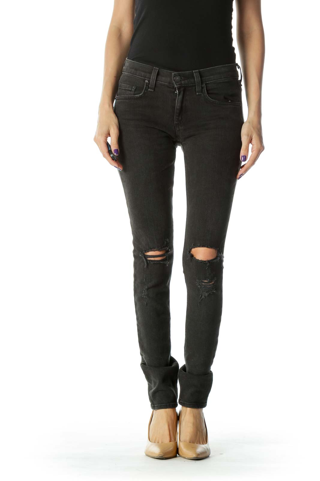 Black Faded Distressed Skinny Jean
