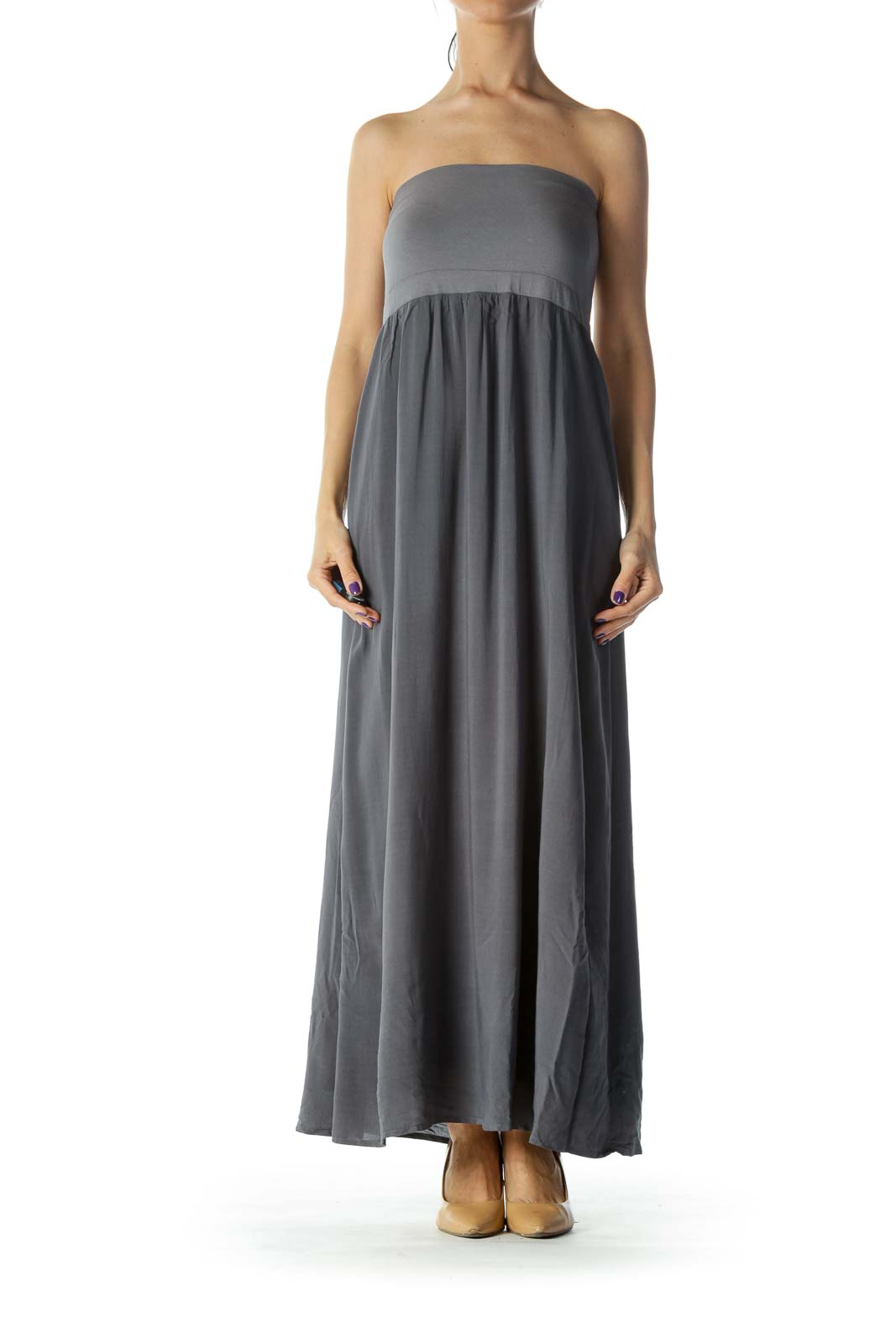Grey Strapless Maxi Dress