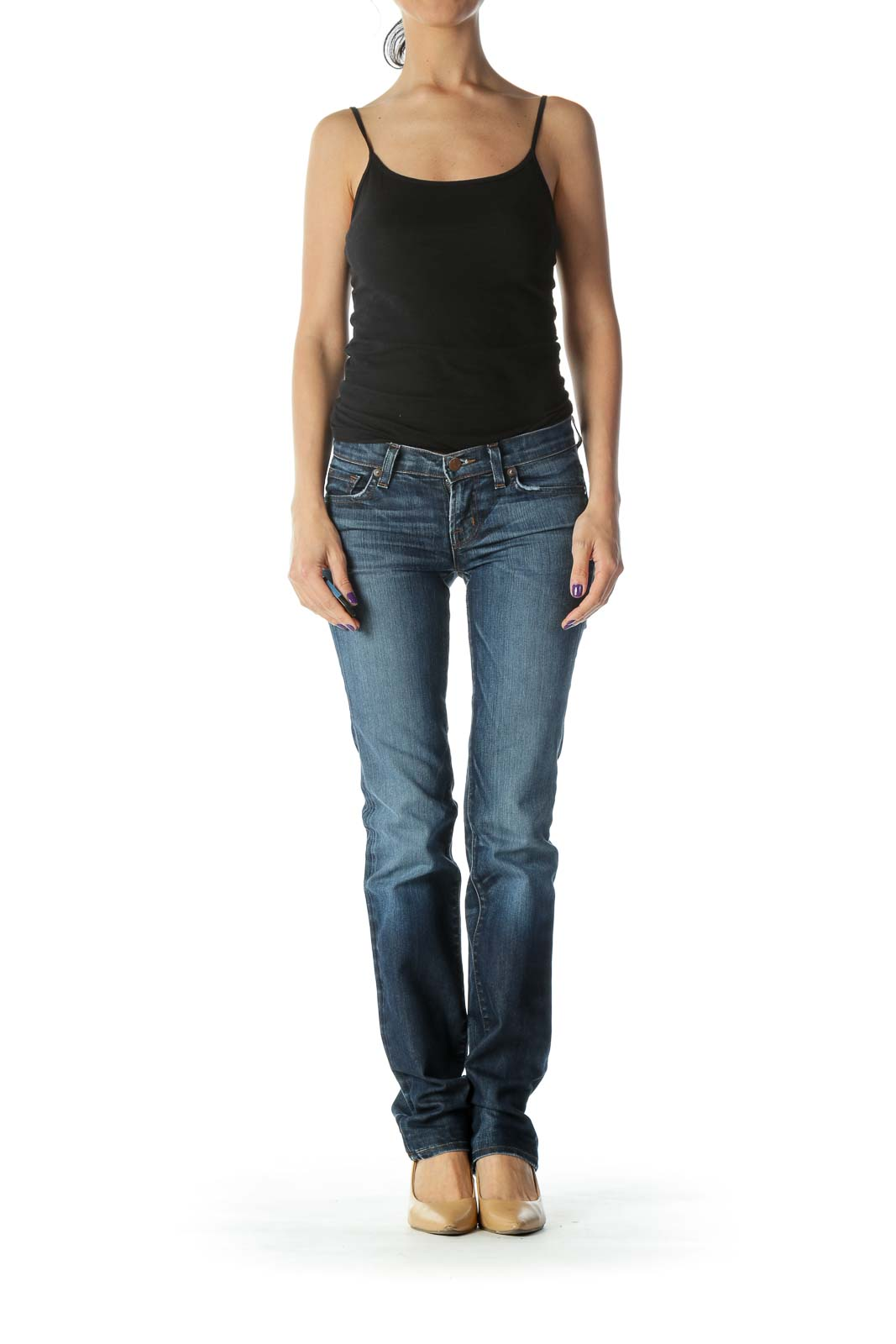 Blue Dark Wash Straight Leg Jean