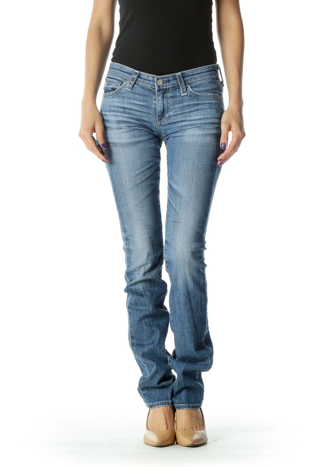 Blue Medium Wash Low Rise Jean