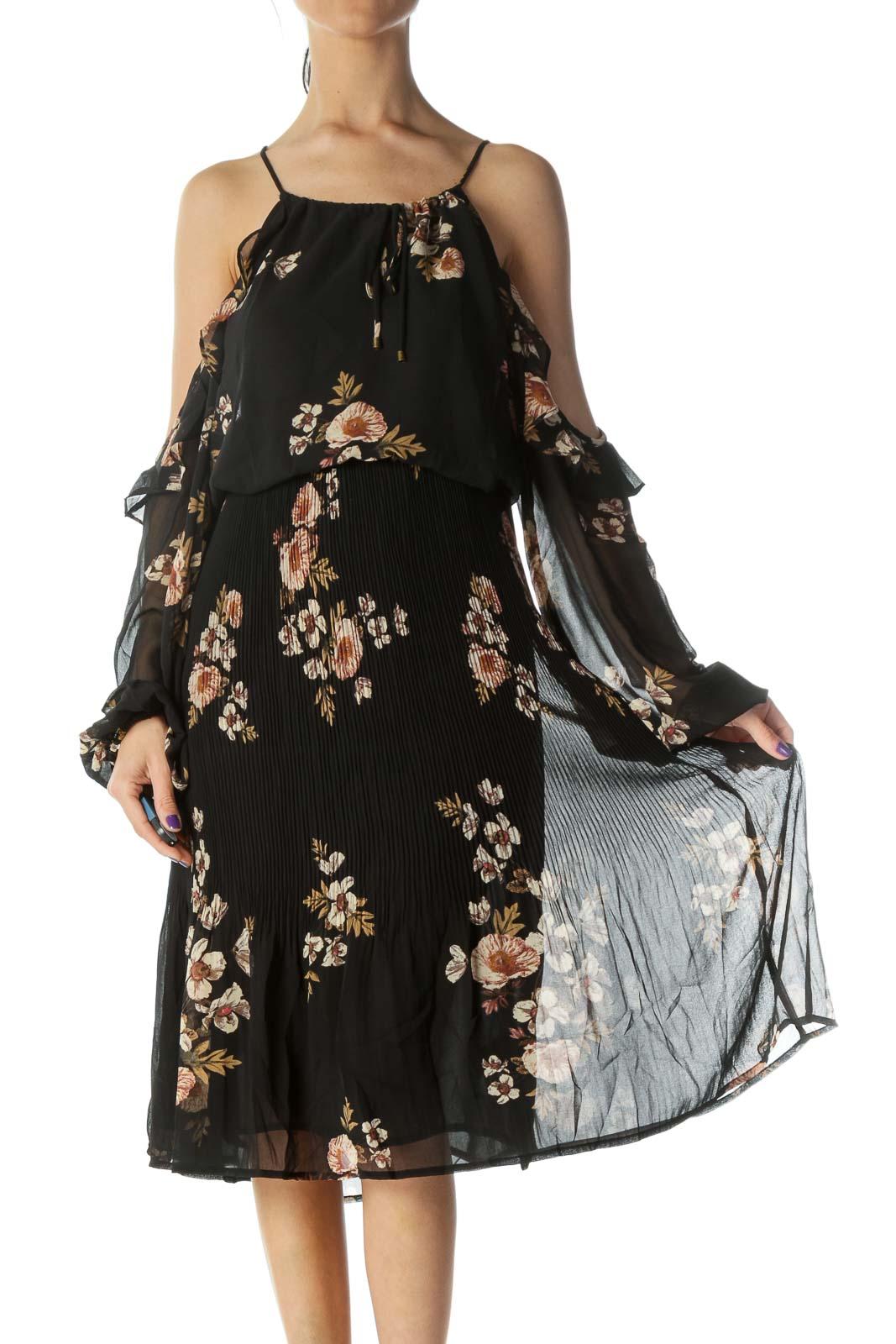 Black Floral Print Cold Shoulder Day Dress